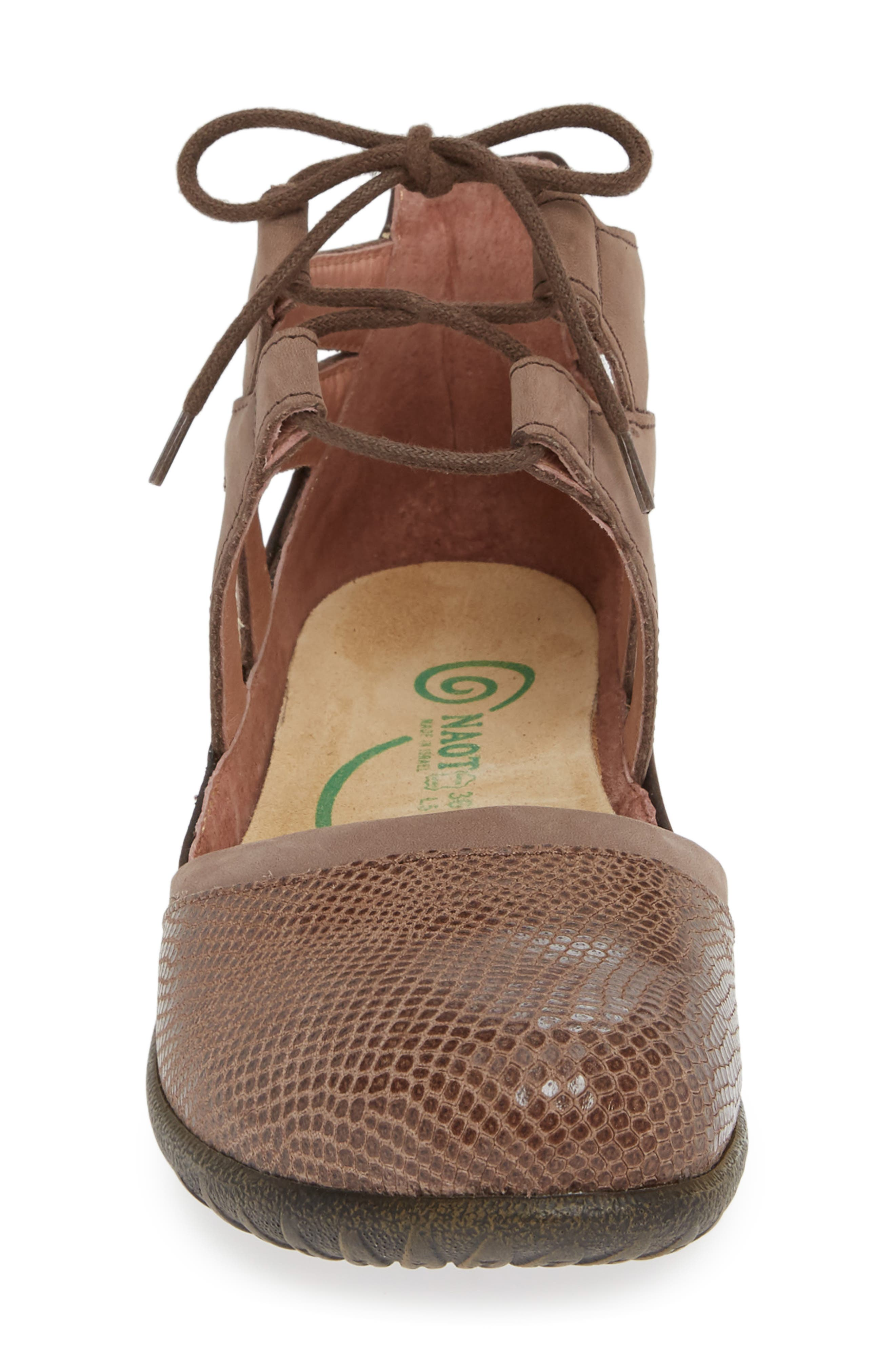 NAOT, Kata Lace-Up Sandal, Alternate thumbnail 4, color, BROWN/ SHIITAKE LEATHER