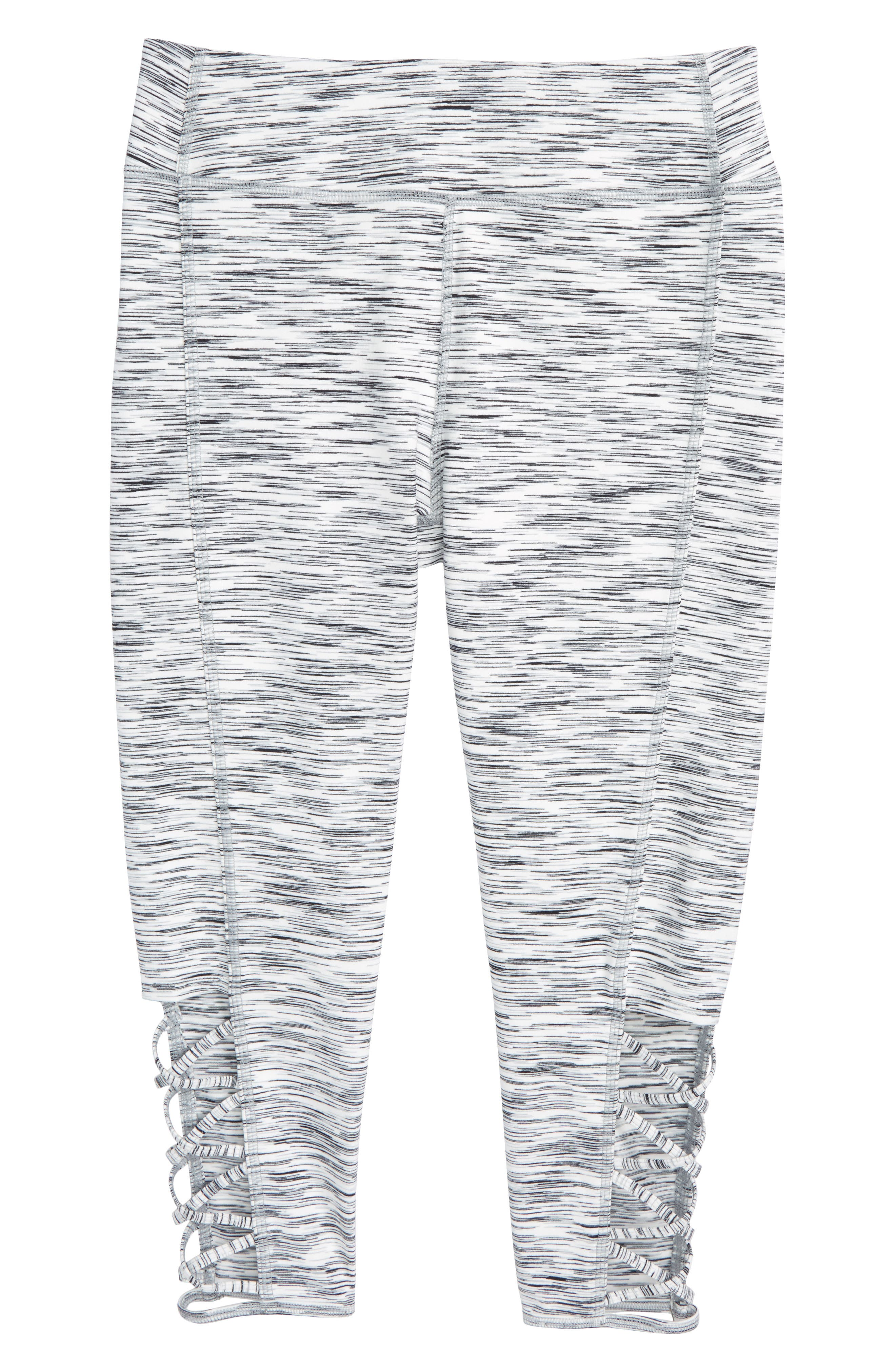ZELLA GIRL High Waist Lattice Crop Leggings, Main, color, WHITE ECLIPSE SPACEDYE