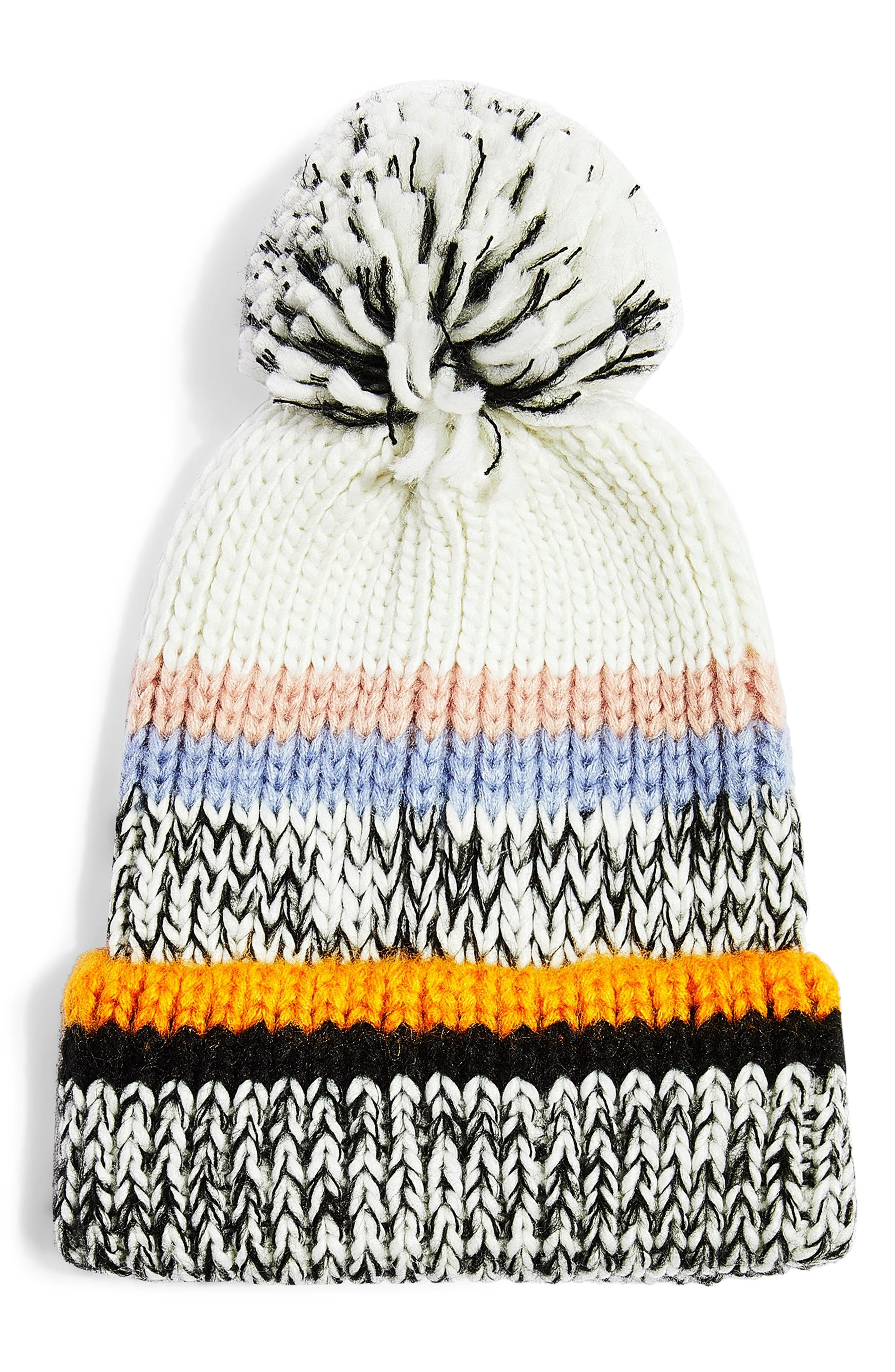 TOPSHOP, Colorblock Stripe Knit Beanie, Main thumbnail 1, color, 800