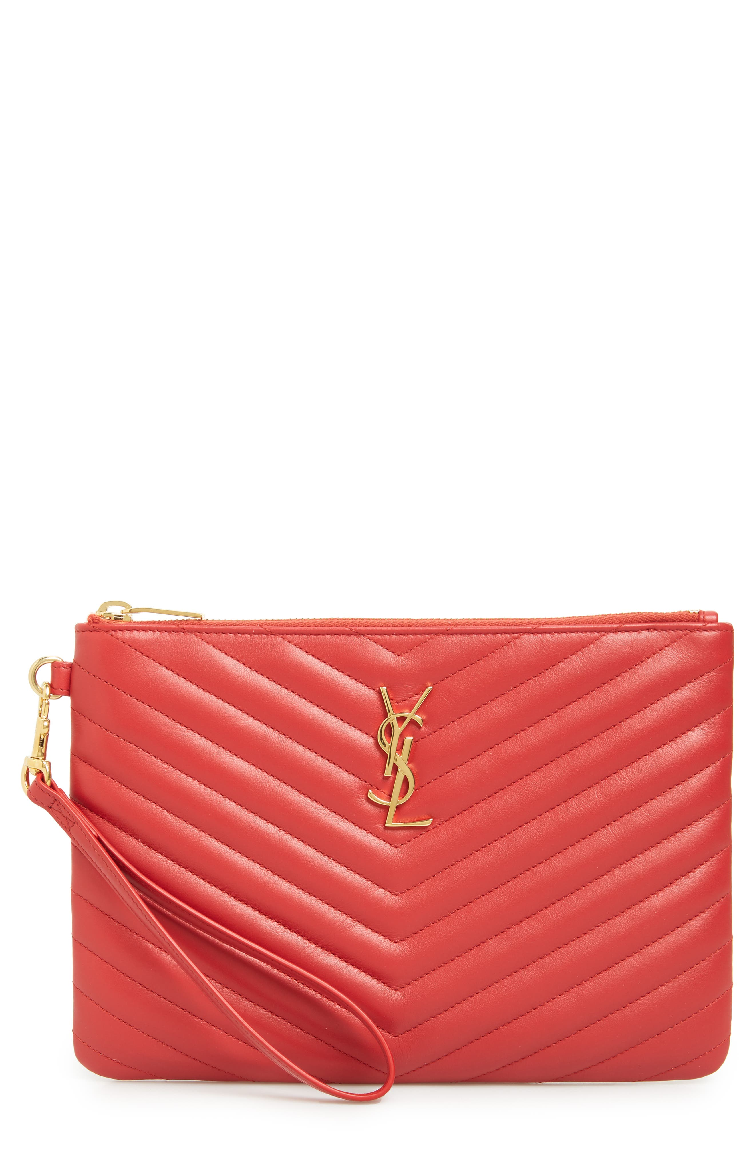 SAINT LAURENT 'Small Monogram' Print Leather Wristlet, Main, color, BANDANA RED