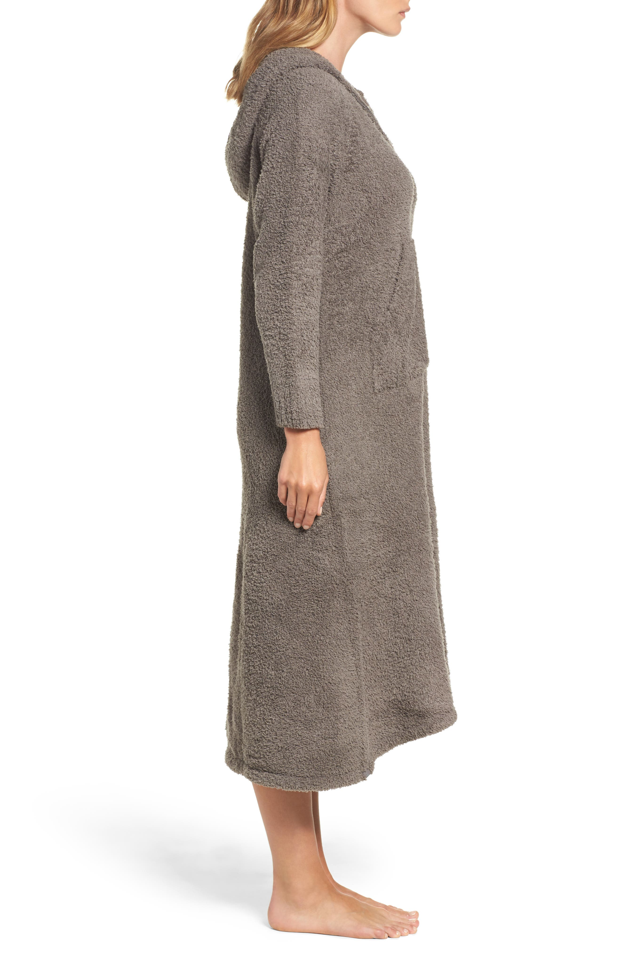BAREFOOT DREAMS<SUP>®</SUP>, CozyChic<sup>®</sup> Hooded Zip Robe, Alternate thumbnail 3, color, 020