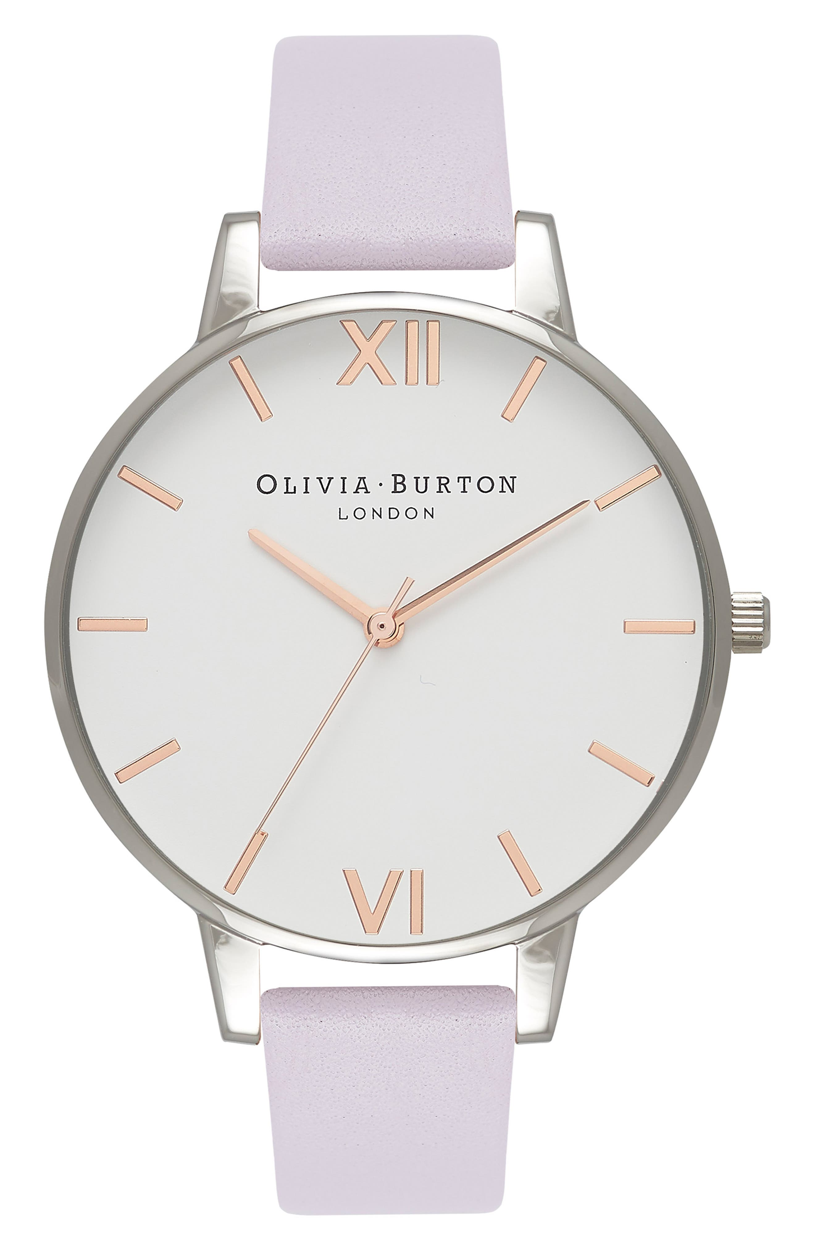 OLIVIA BURTON, White Dial Leather Strap Watch, 38mm, Main thumbnail 1, color, VIOLET/ WHITE/ SILVER