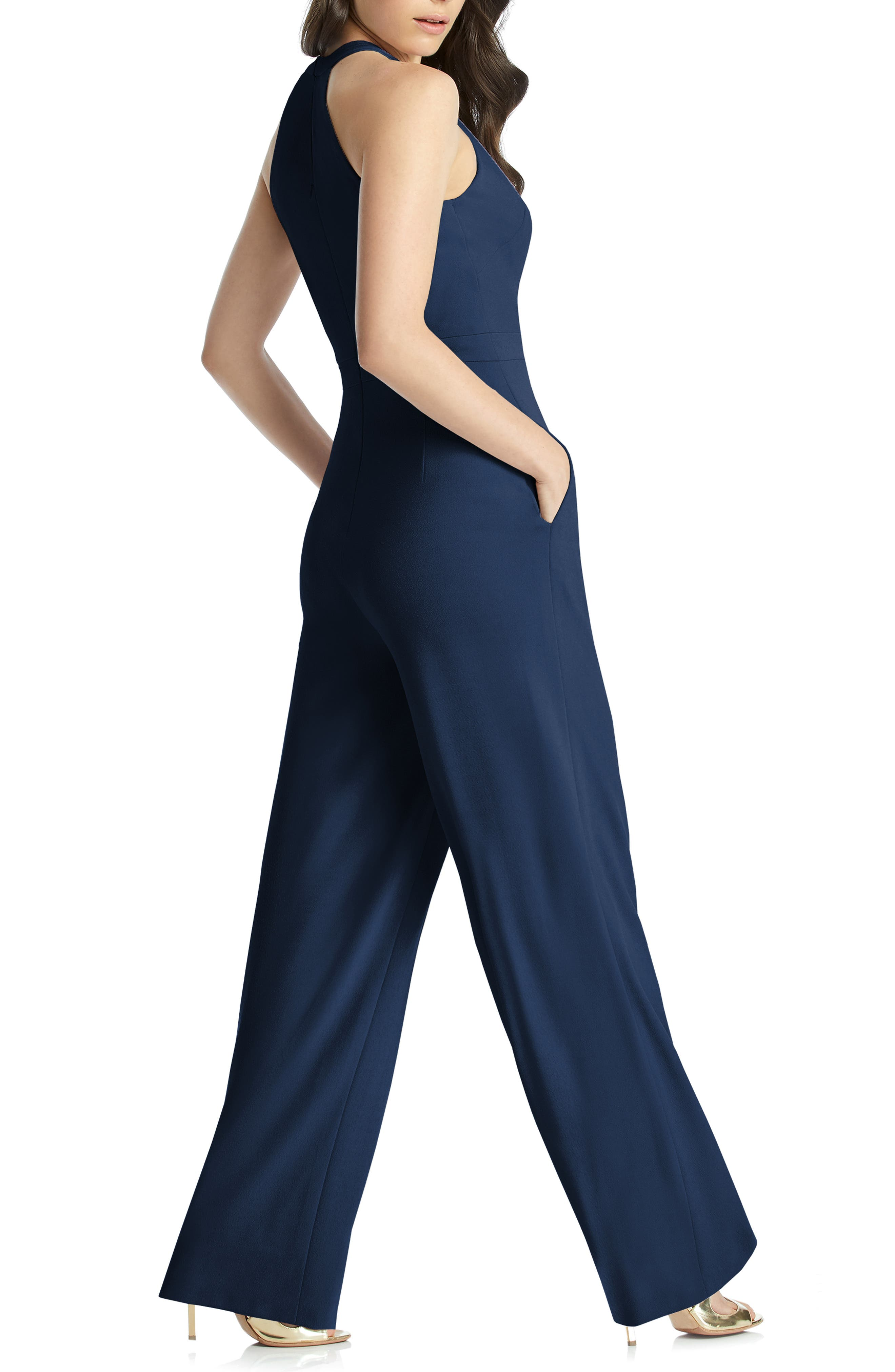 DESSY COLLECTION, Allison Stretch Crepe Jumpsuit, Alternate thumbnail 2, color, MIDNIGHT
