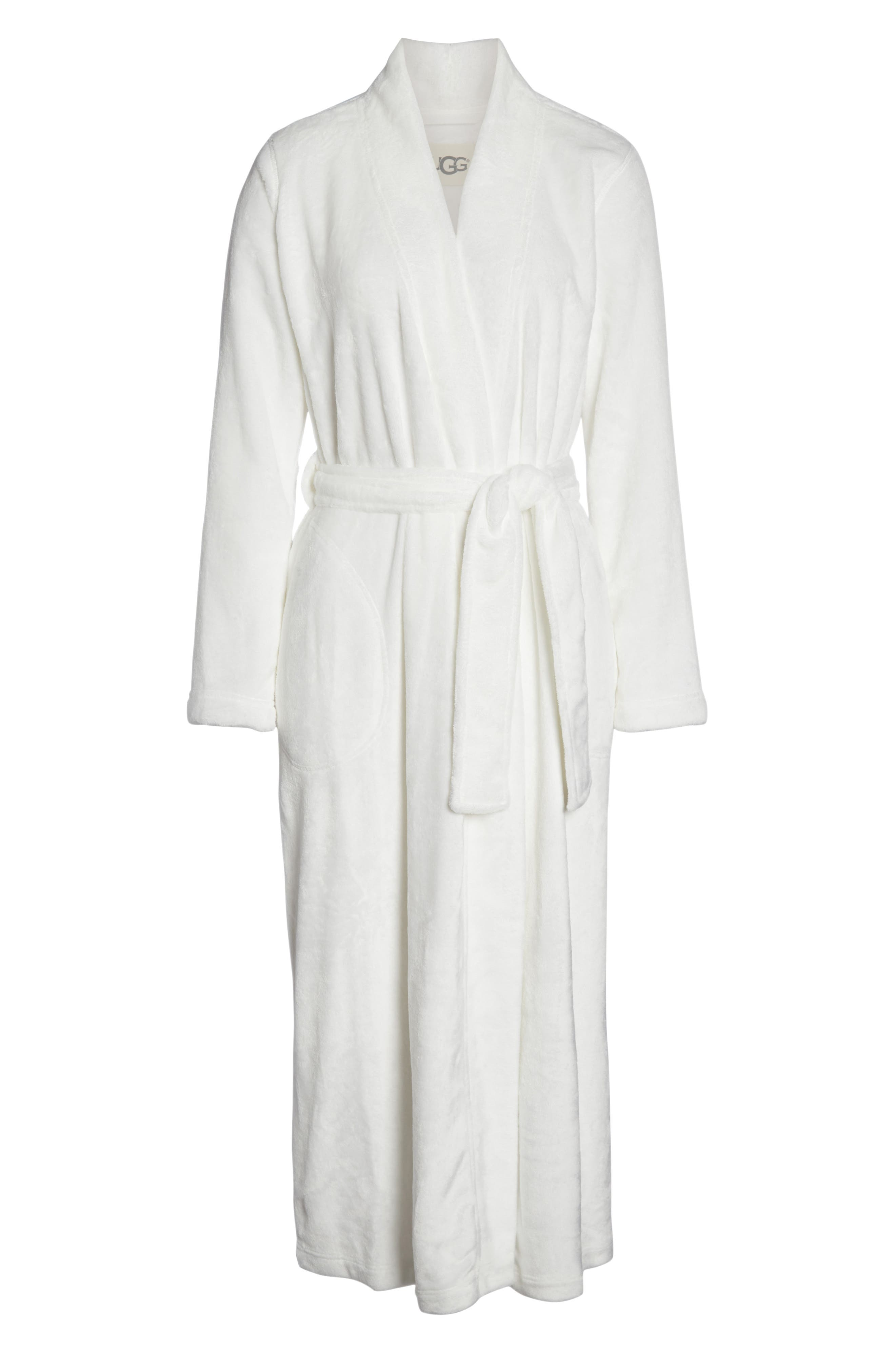 UGG<SUP>®</SUP>, Marlow Double-Face Fleece Robe, Alternate thumbnail 6, color, SEAGULL