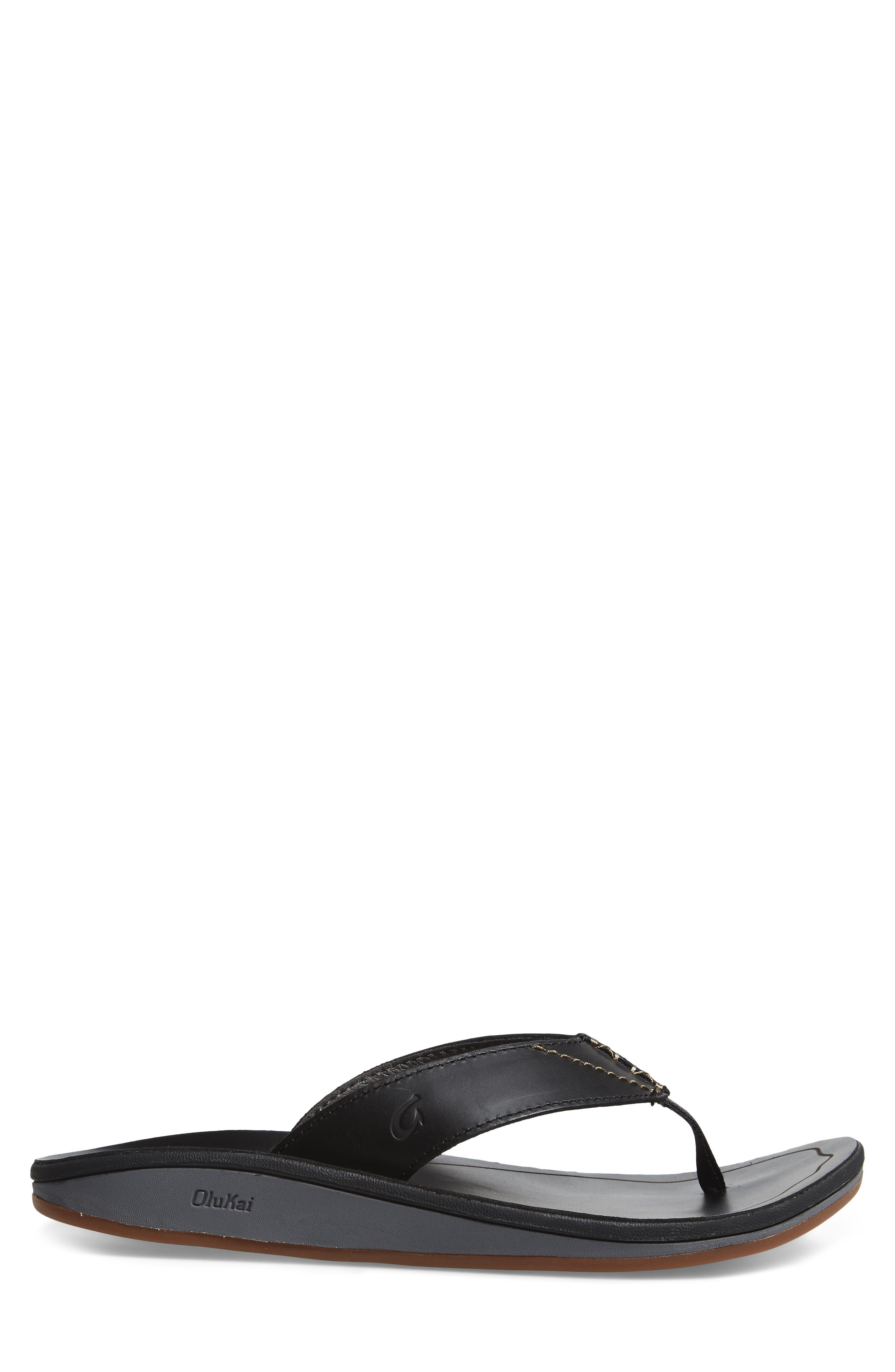 OLUKAI, Nohona Ili Flip Flop, Alternate thumbnail 3, color, BLACK/ BLACK LEATHER