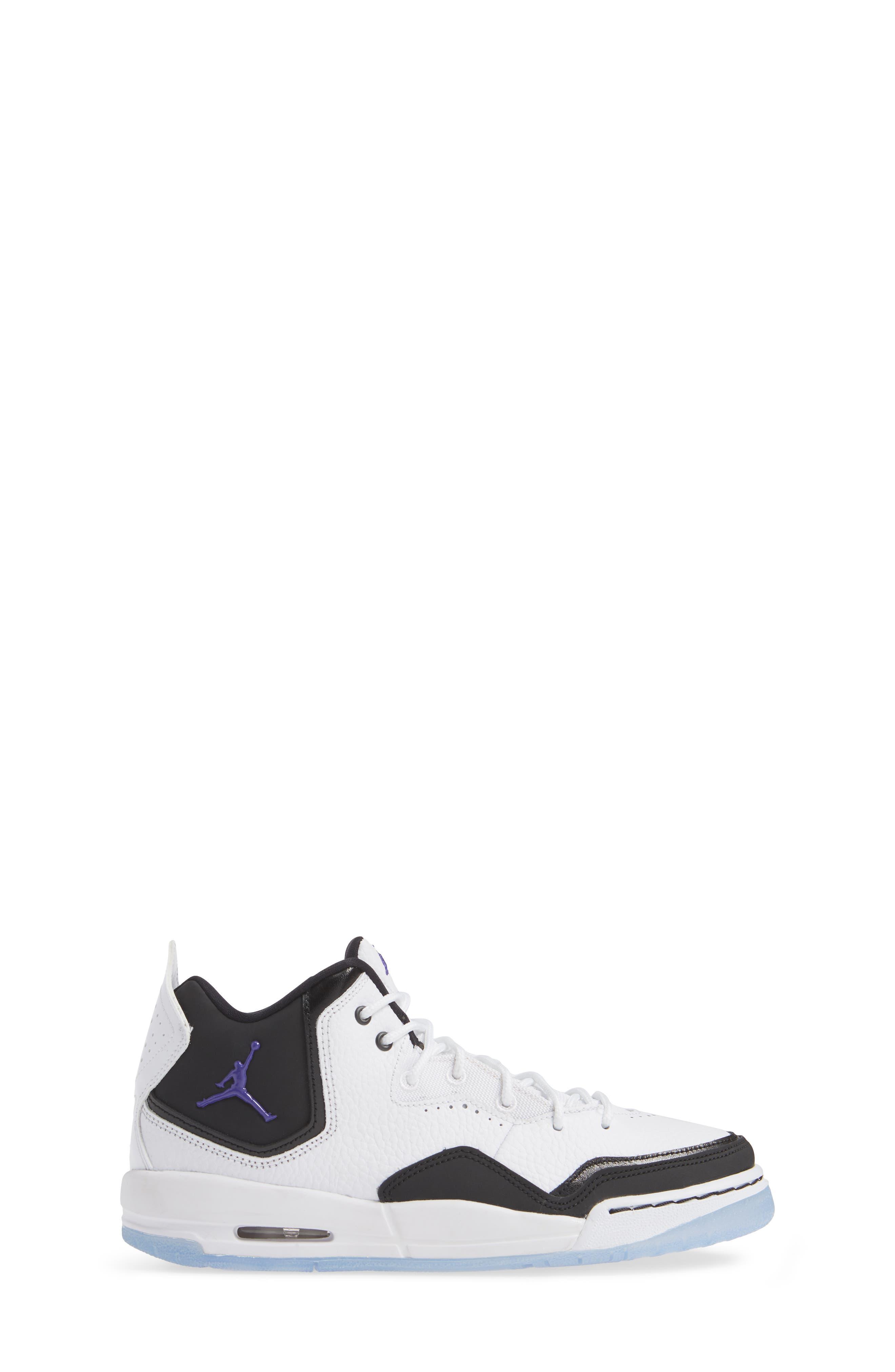 JORDAN, Nike Air Jordan Courtside 23 Sneaker, Alternate thumbnail 3, color, WHITE/ CONCORD BLACK