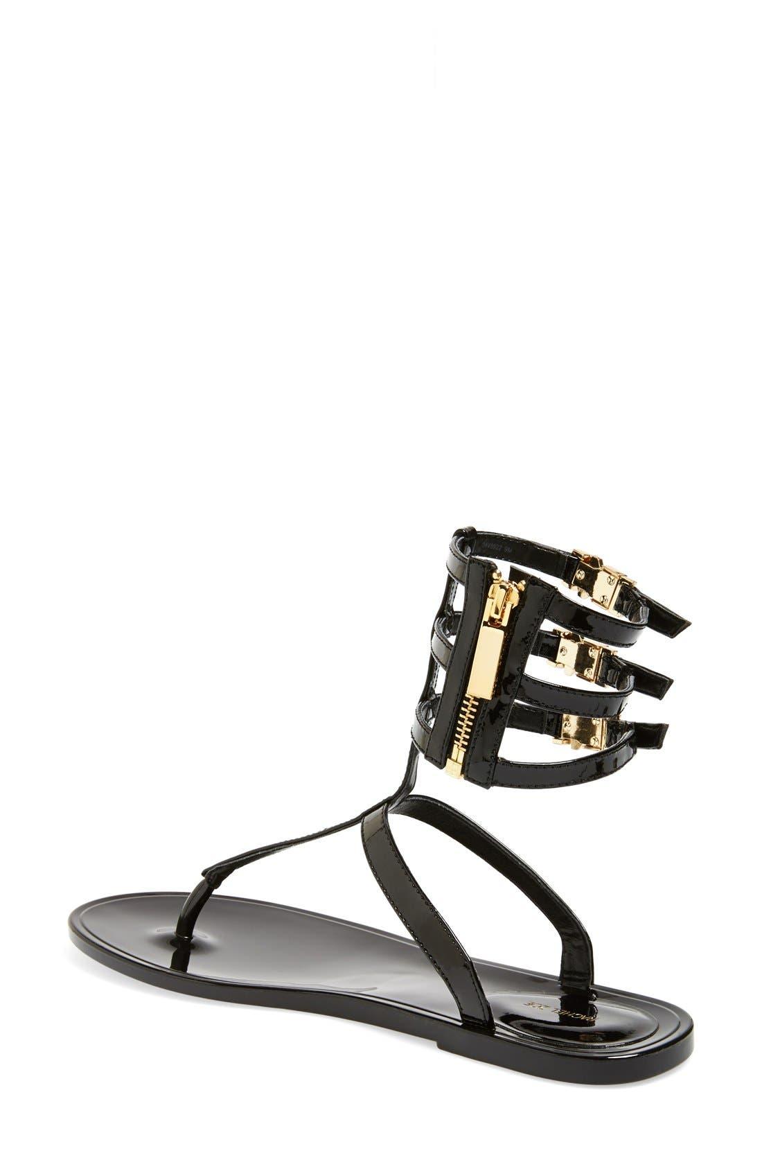 RACHEL ZOE, 'Cecille' Leather Ankle Strap Sandal, Alternate thumbnail 4, color, 001