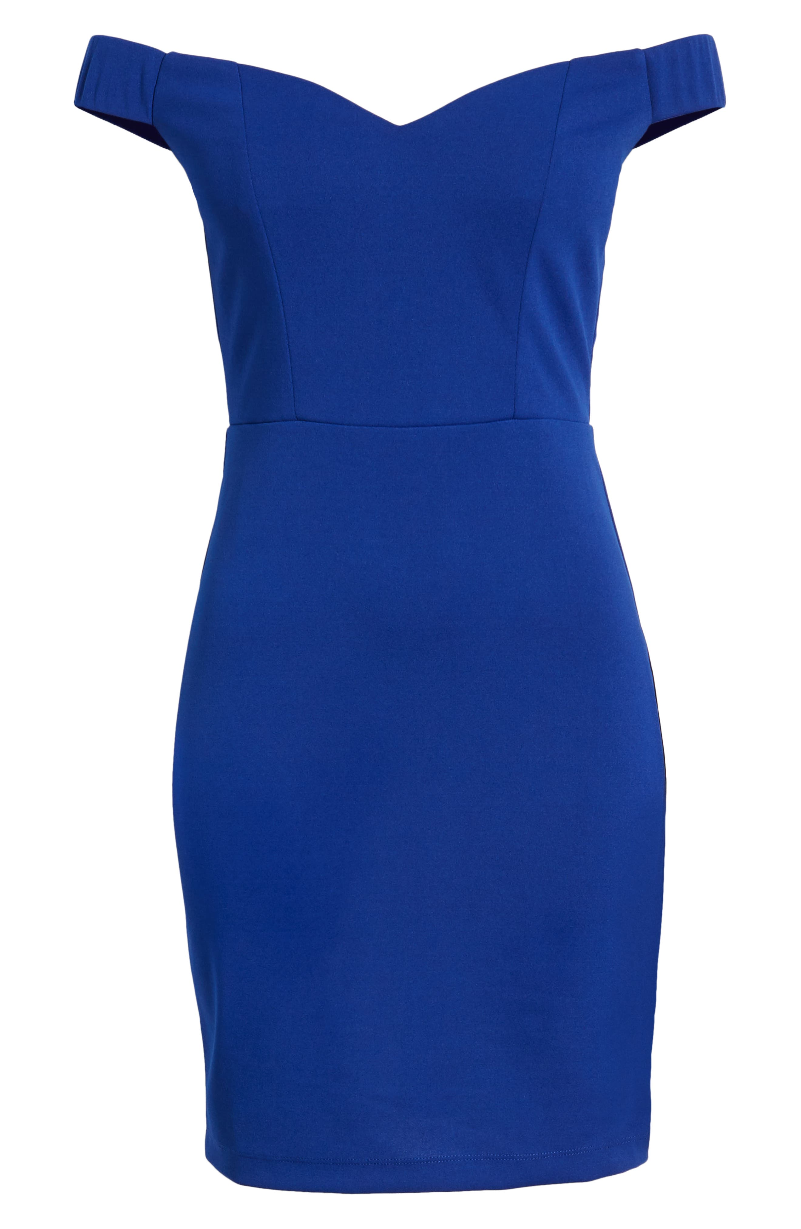 LOVE, NICKIE LEW, Off the Shoulder Body-Con Dress, Alternate thumbnail 7, color, 400