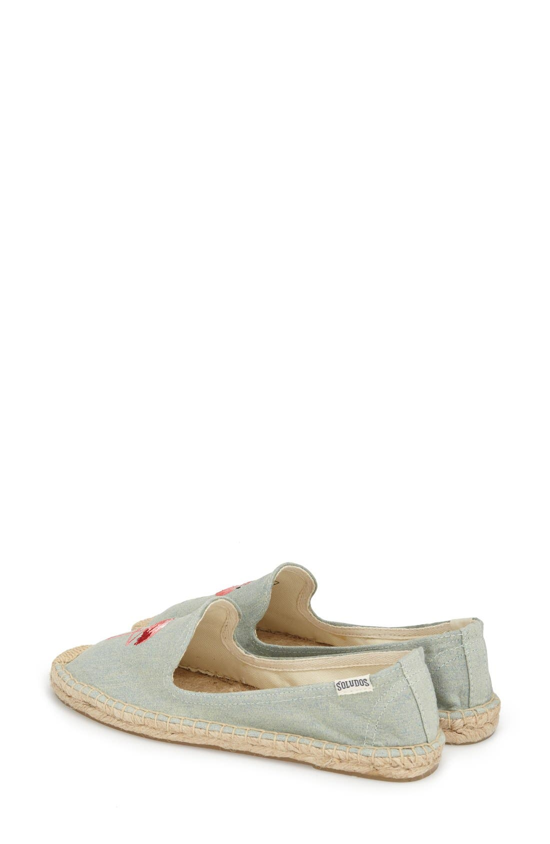 SOLUDOS, Espadrille Slip-On, Alternate thumbnail 5, color, FLAMINGO CHAMBRAY