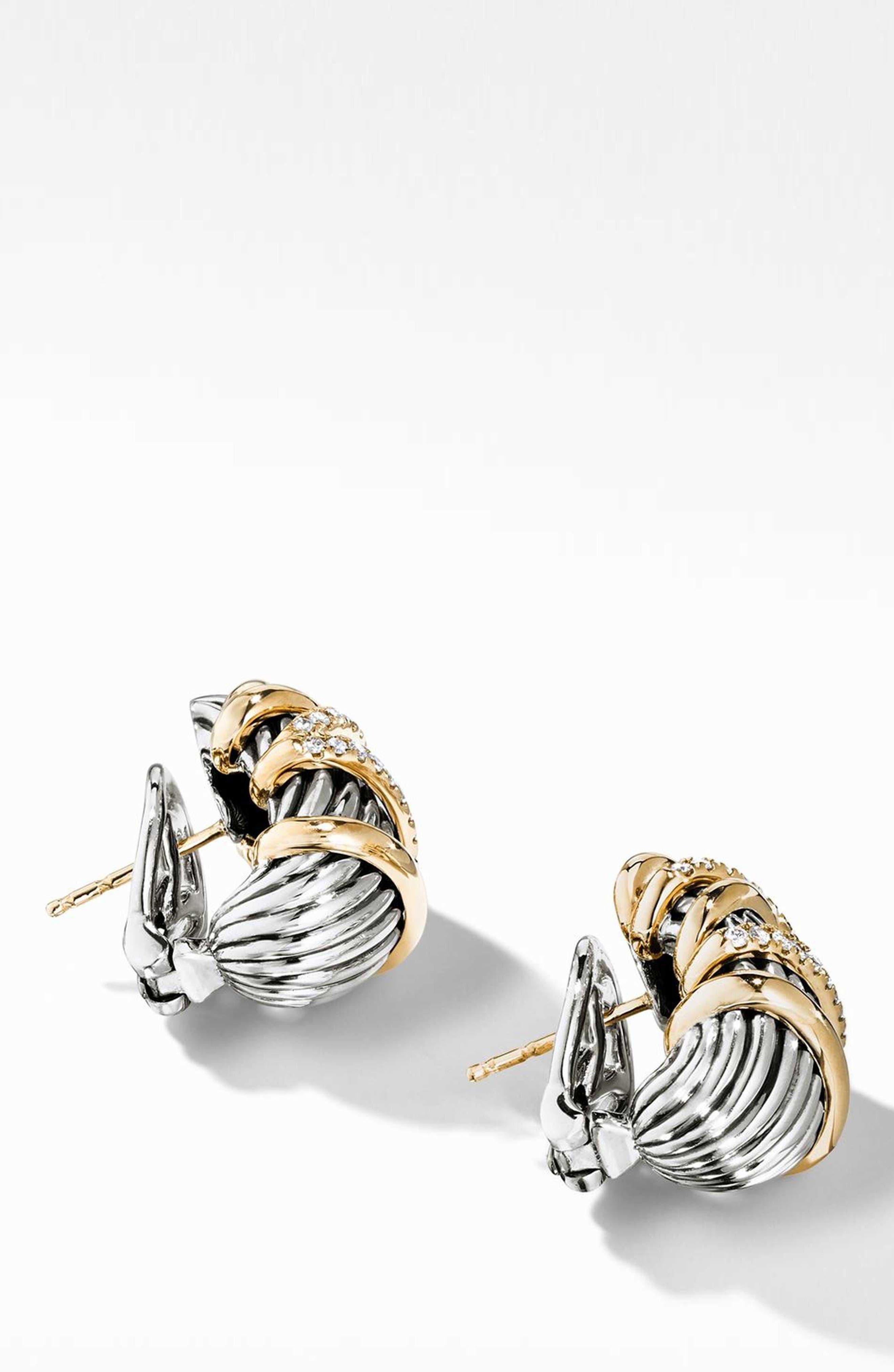 DAVID YURMAN, Helena Shrimp Earrings with 18K Gold and Diamonds, Main thumbnail 1, color, GOLD/ SILVER/ DIAMOND