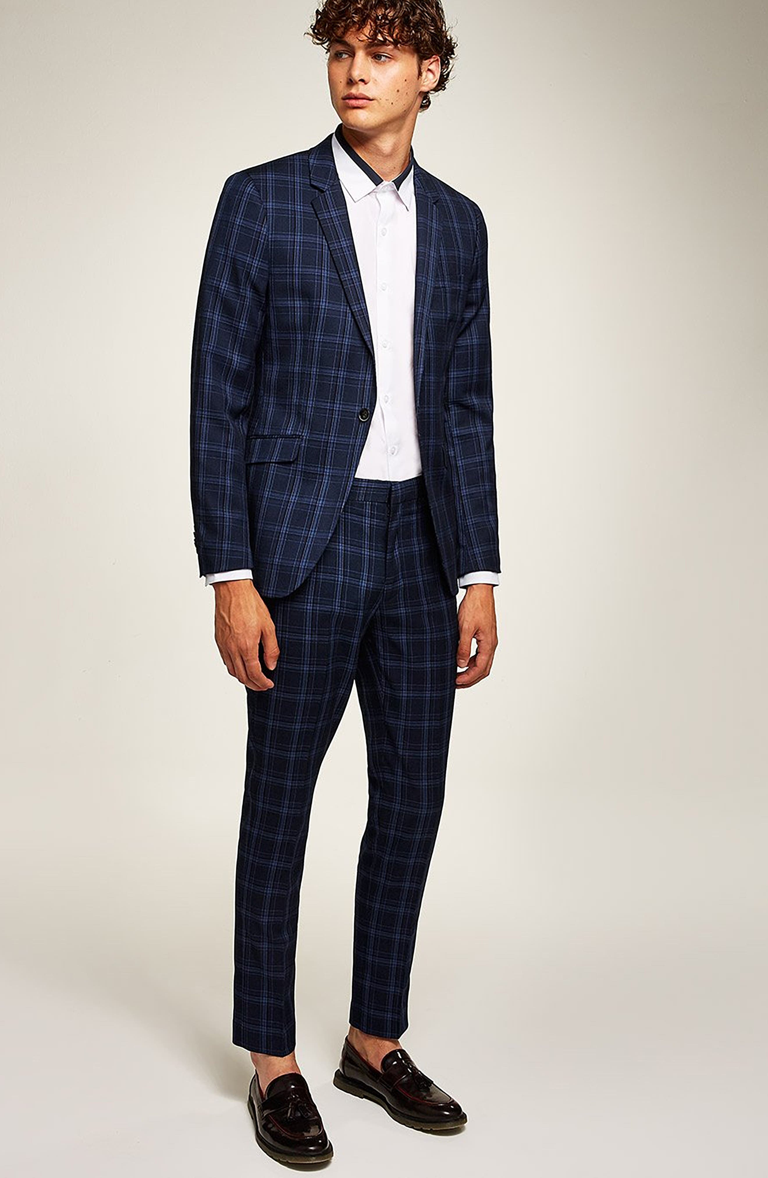 TOPMAN, Skinny Fit Check Suit Jacket, Alternate thumbnail 5, color, 400