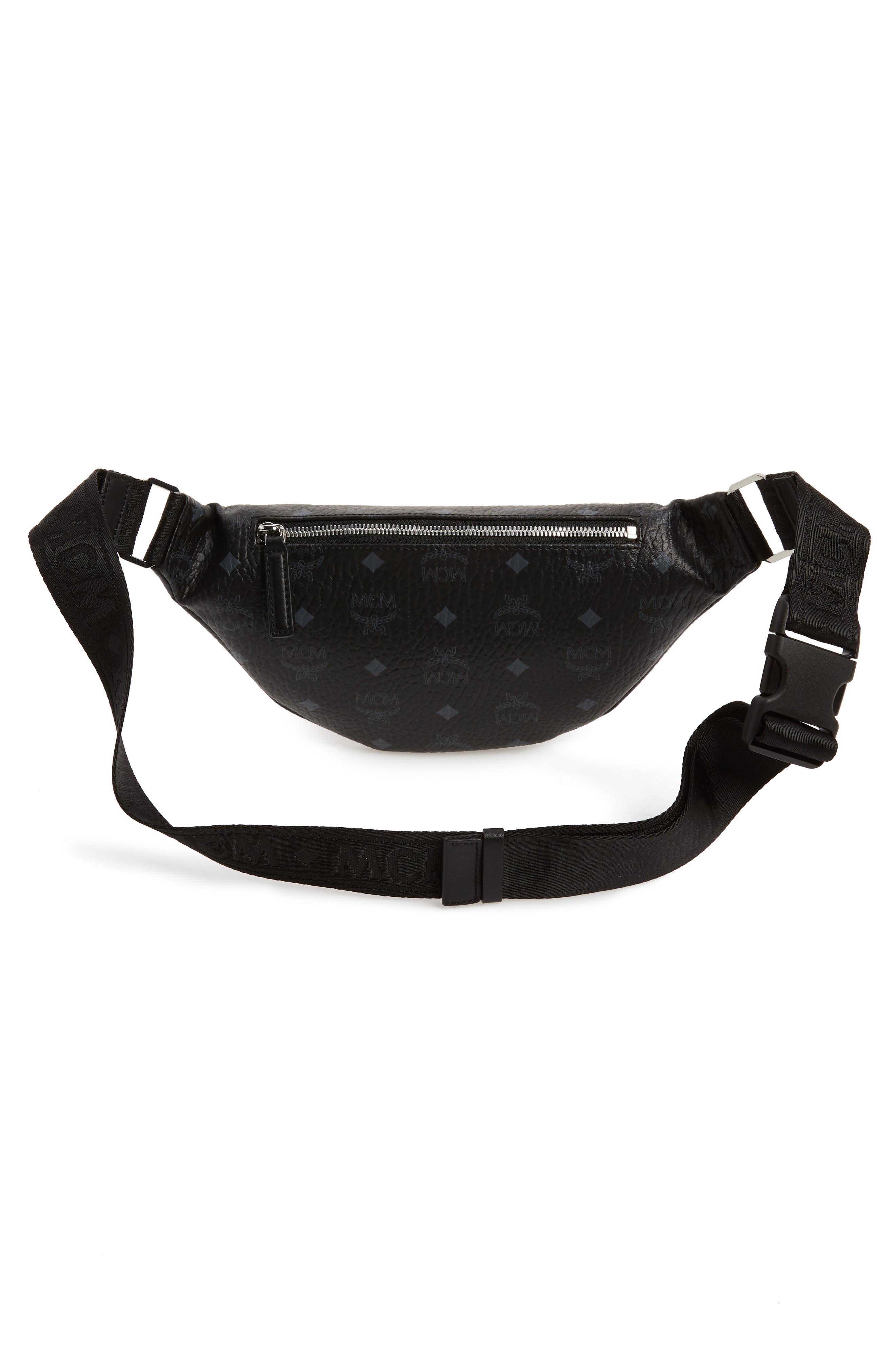 MCM, Fursten Visetos Small Belt Bag, Alternate thumbnail 5, color, BLACK