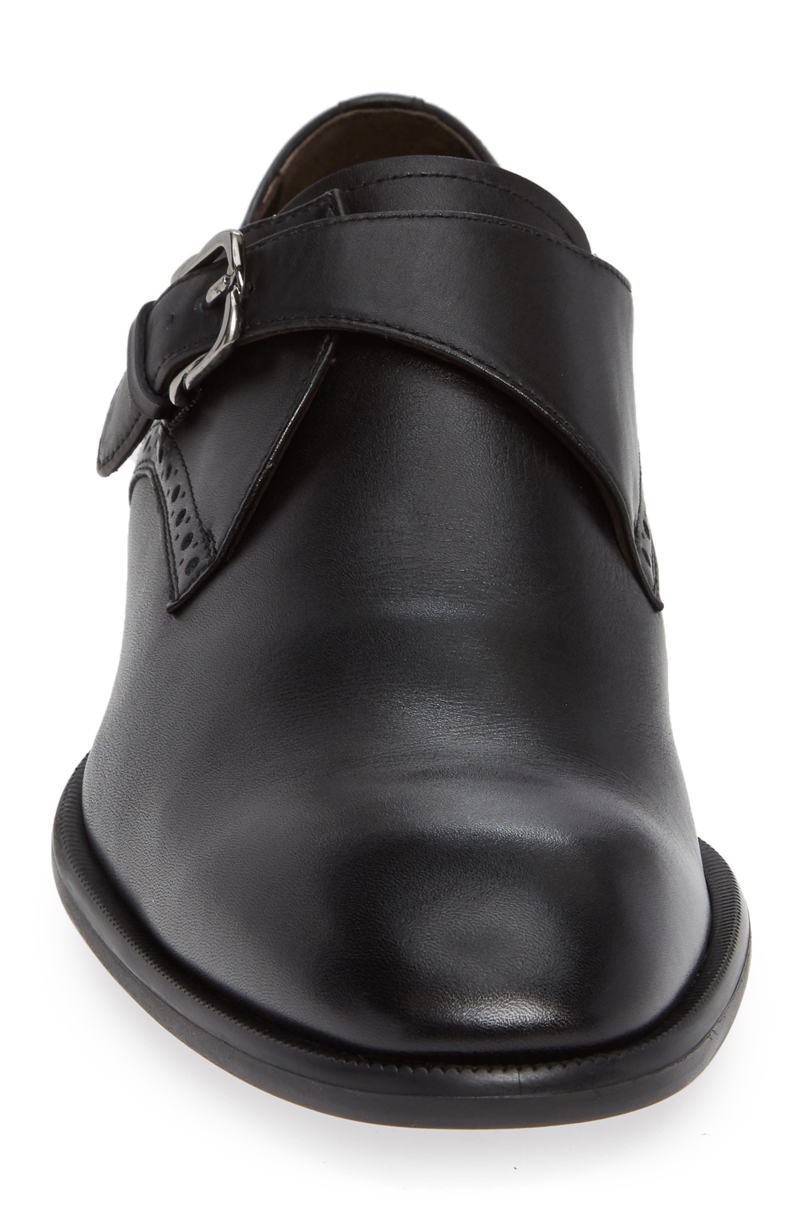 ERMENEGILDO ZEGNA, Single Strap Monk Shoe, Alternate thumbnail 4, color, BLACK