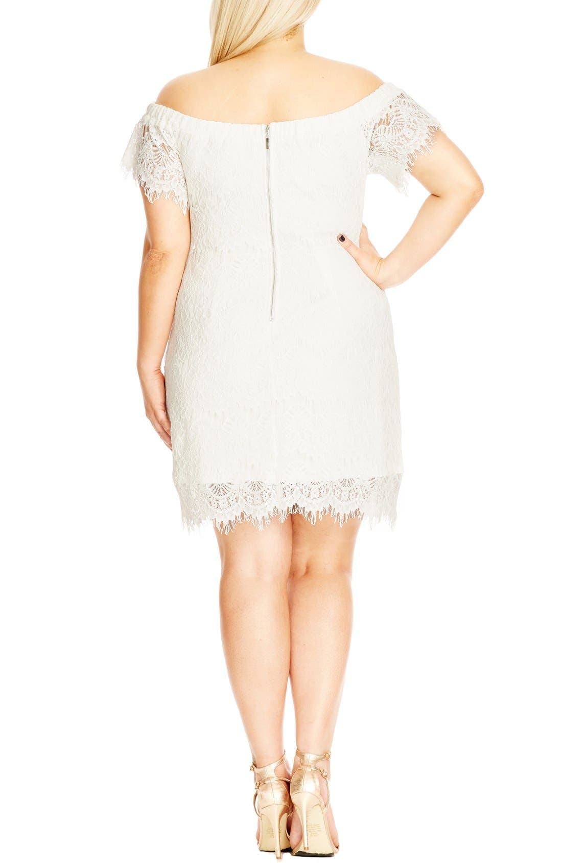 CITY CHIC, Off the Shoulder Lace Dress, Alternate thumbnail 2, color, IVORY