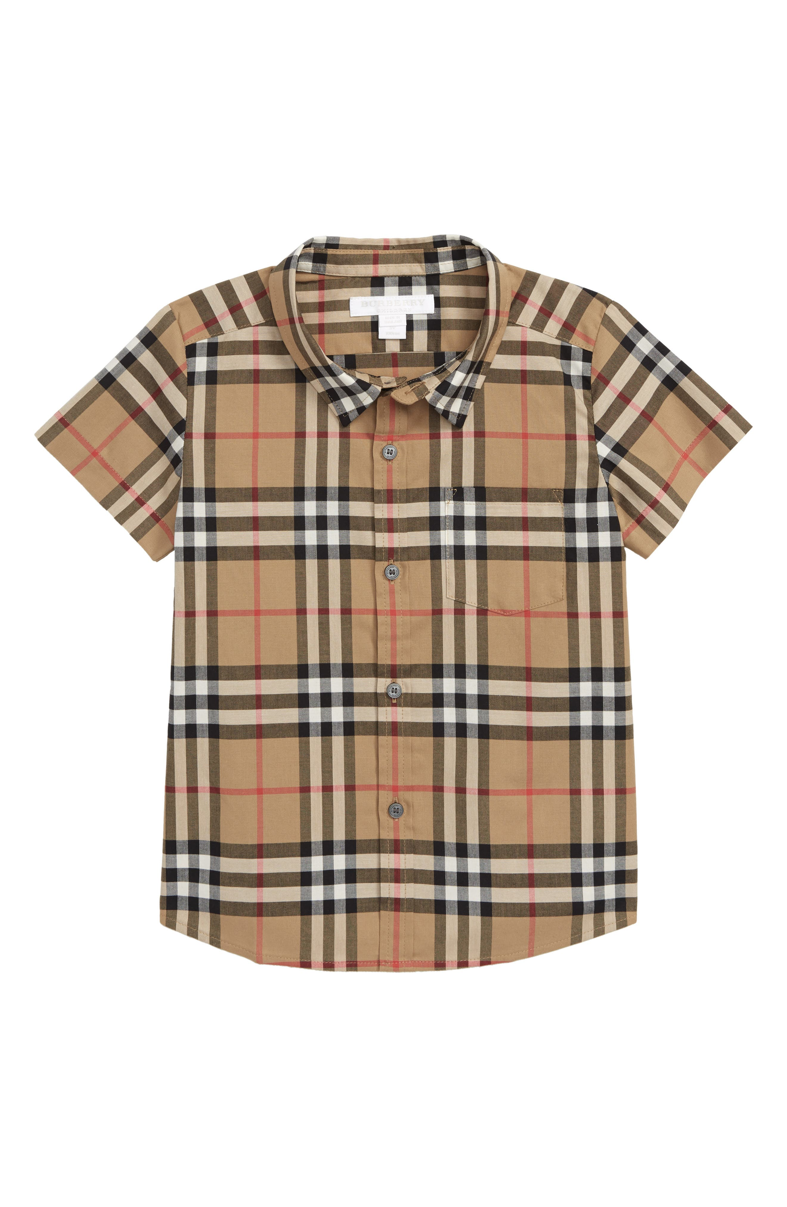 BURBERRY Fred Check Woven Shirt, Main, color, ANTIQUE YELLOW