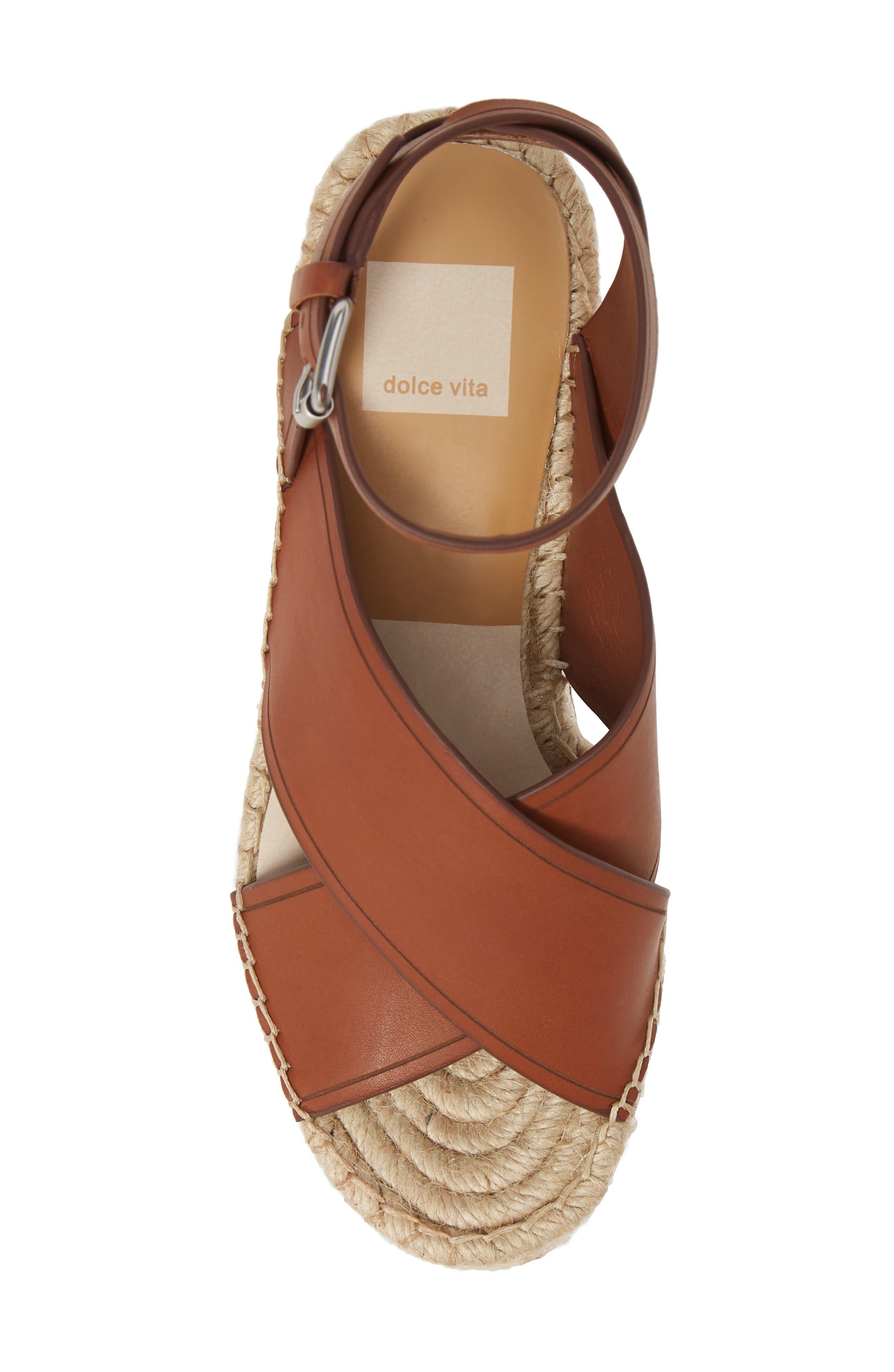 DOLCE VITA, Carsie Platform Sandal, Alternate thumbnail 5, color, BROWN LEATHER