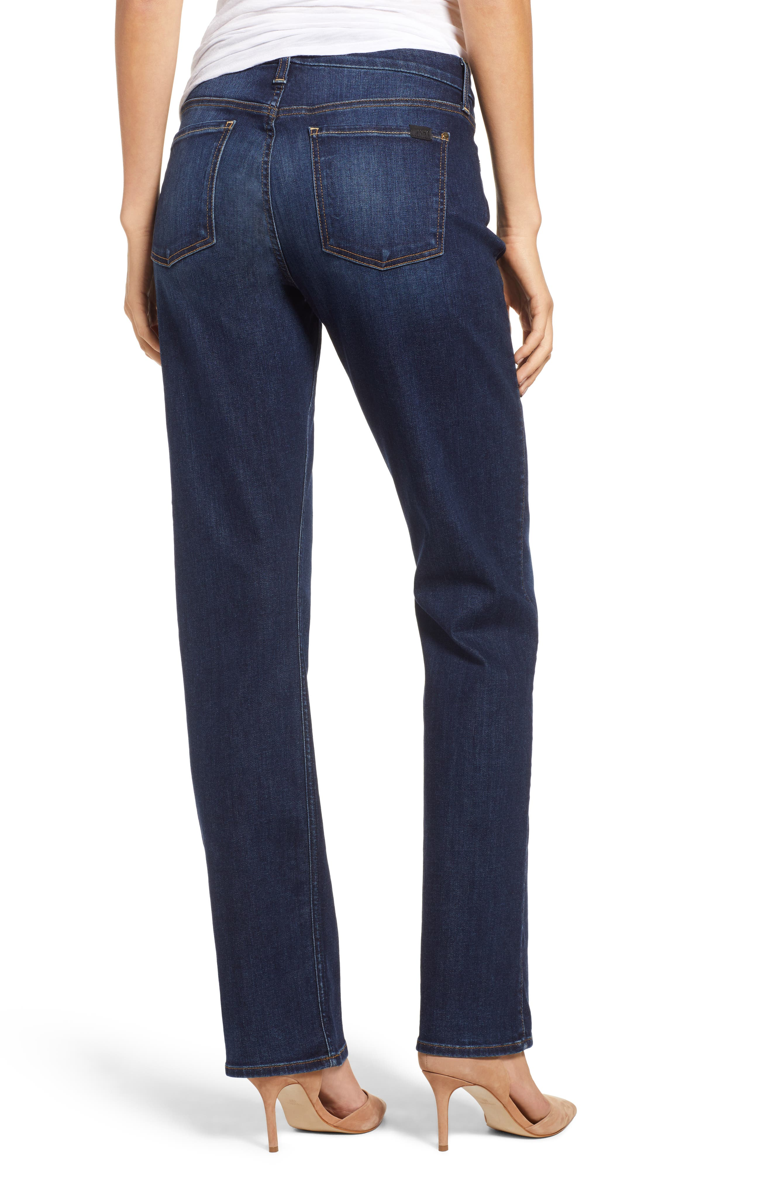 JEN7 BY 7 FOR ALL MANKIND, Stretch Slim Straight Leg Jeans, Alternate thumbnail 2, color, 400
