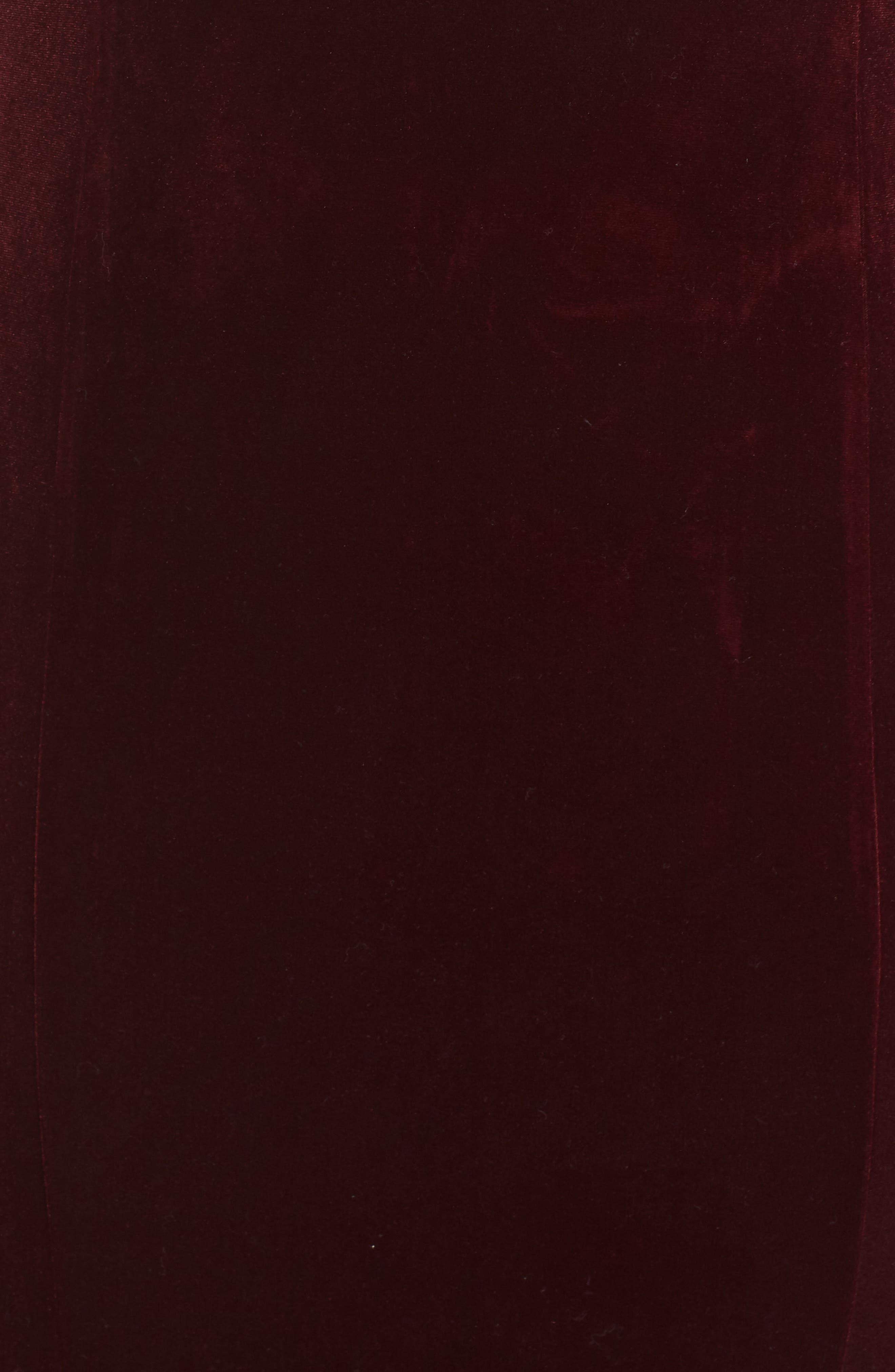 VINCE CAMUTO, Notch Neck Velvet Off the Shoulder Gown, Alternate thumbnail 6, color, 930