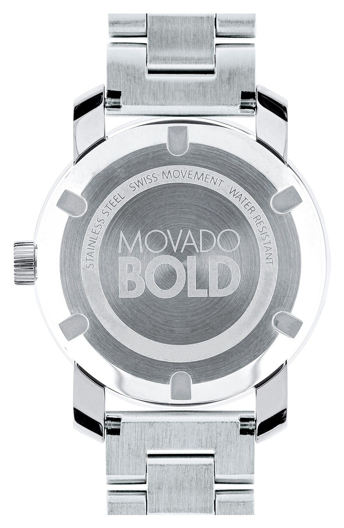 MOVADO, 'Bold' Round Bracelet Watch, 36mm, Alternate thumbnail 4, color, SILVER