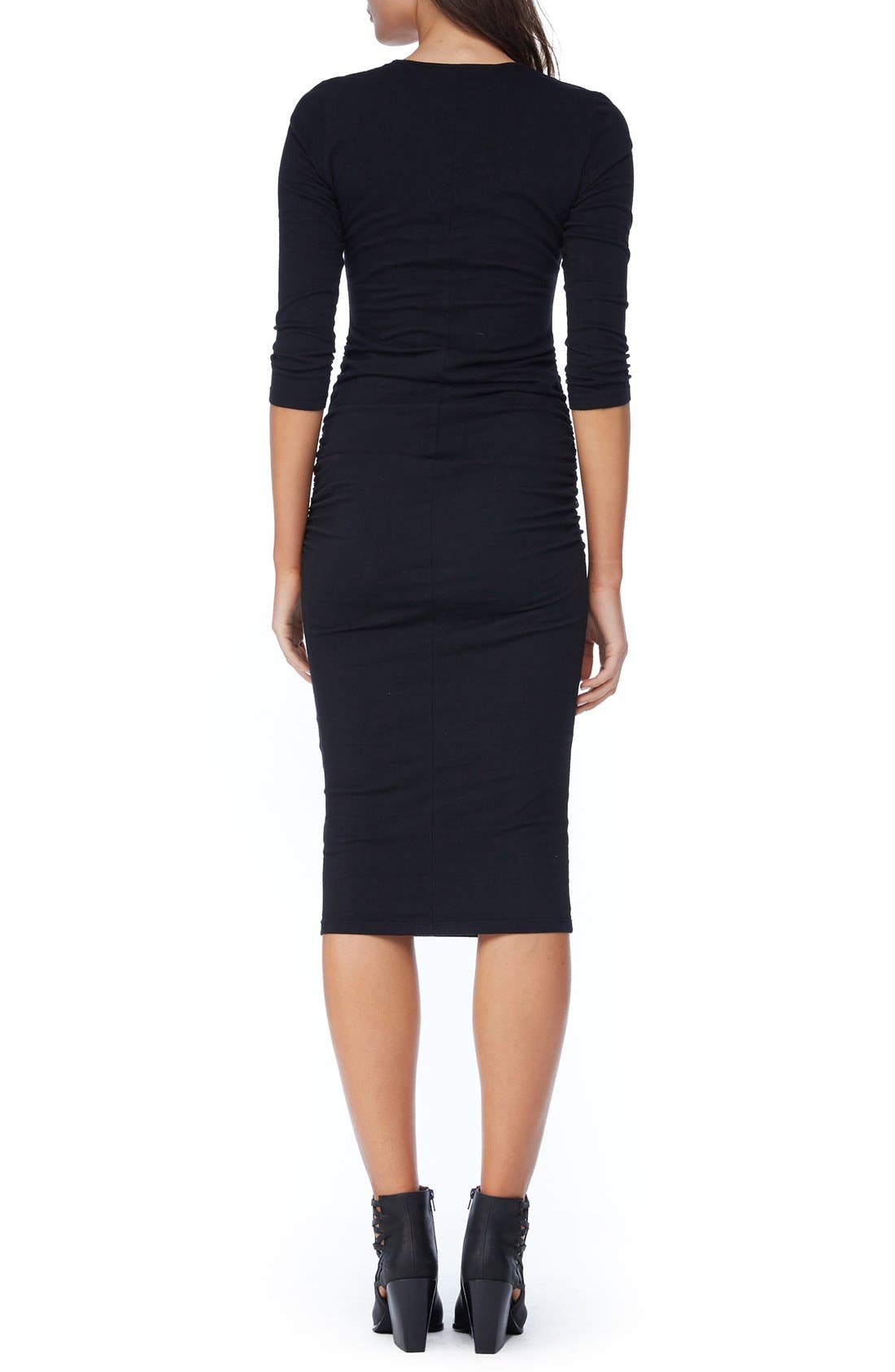 MICHAEL STARS, Ruched Midi Dress, Alternate thumbnail 2, color, BLACK