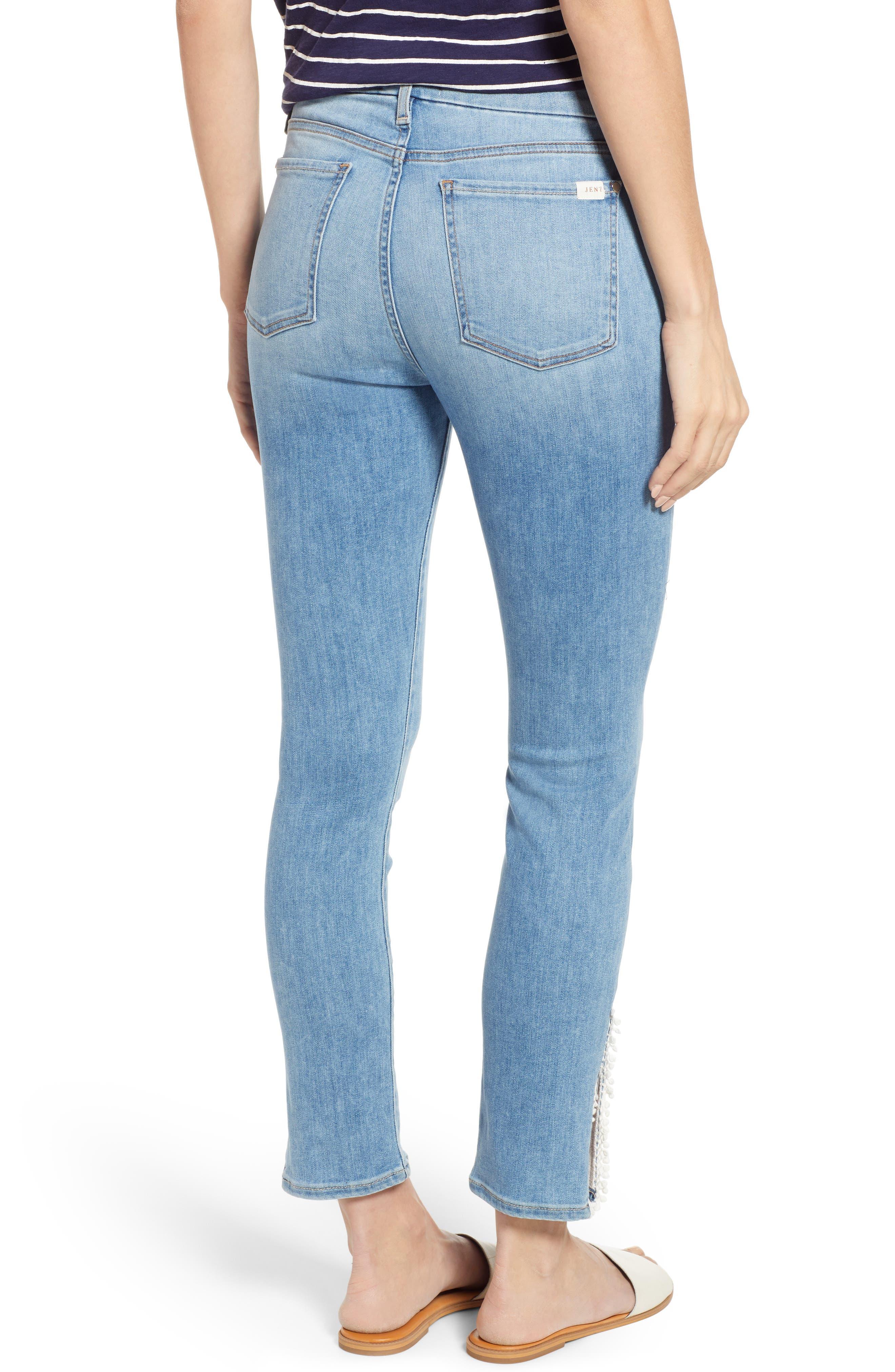 JEN7 BY 7 FOR ALL MANKIND, Pompom Detail Crop Skinny Jeans, Alternate thumbnail 2, color, LA QUINTA POM POM