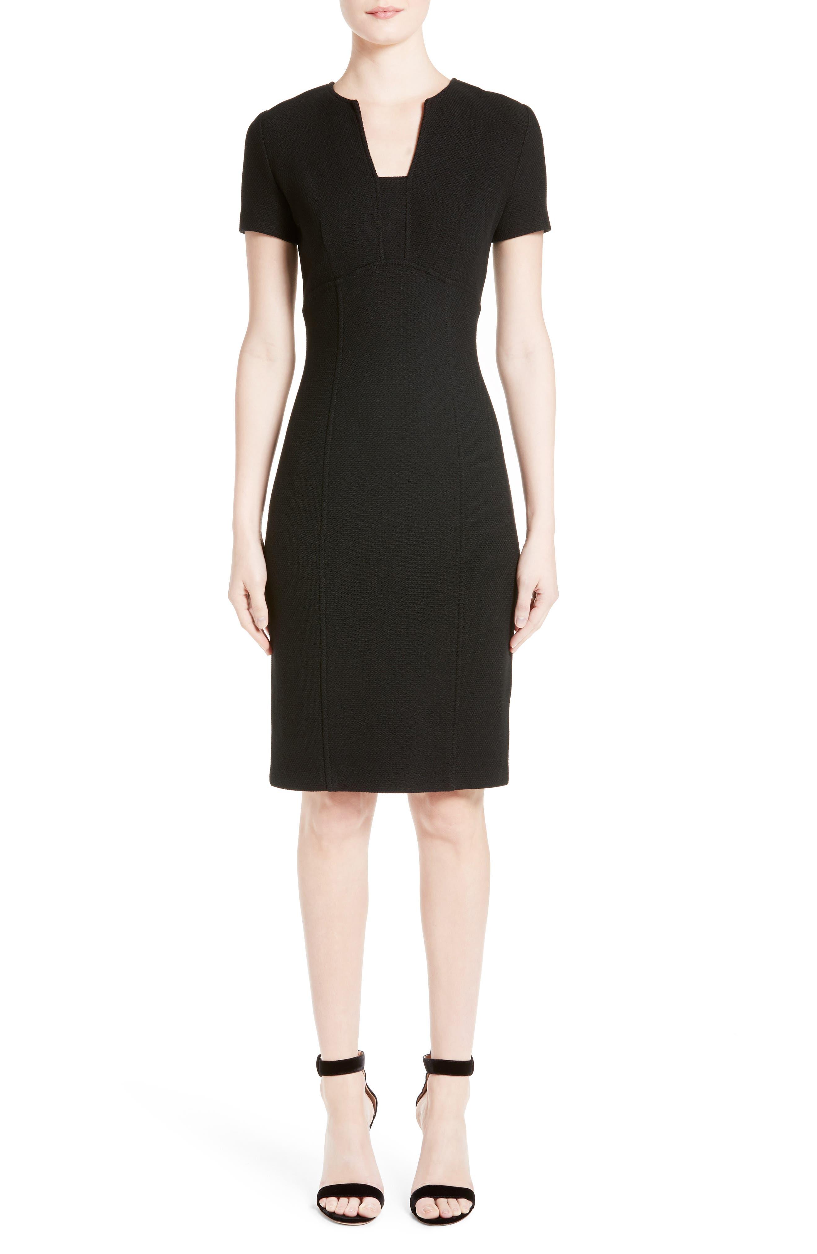 ST. JOHN COLLECTION, Micro Bouclé Knit Dress, Main thumbnail 1, color, CAVIAR