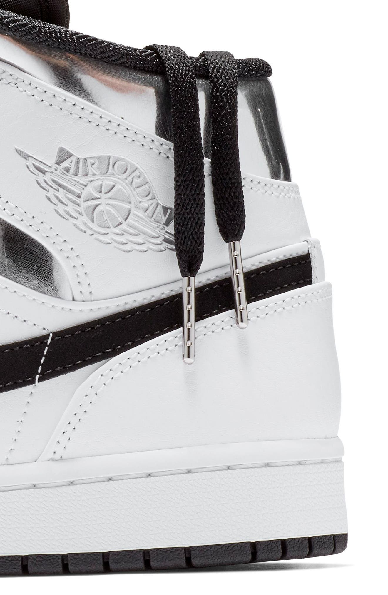 NIKE, 'Air Jordan 1 Mid' Sneaker, Alternate thumbnail 6, color, WHITE/ METALLIC SILVER/ BLACK