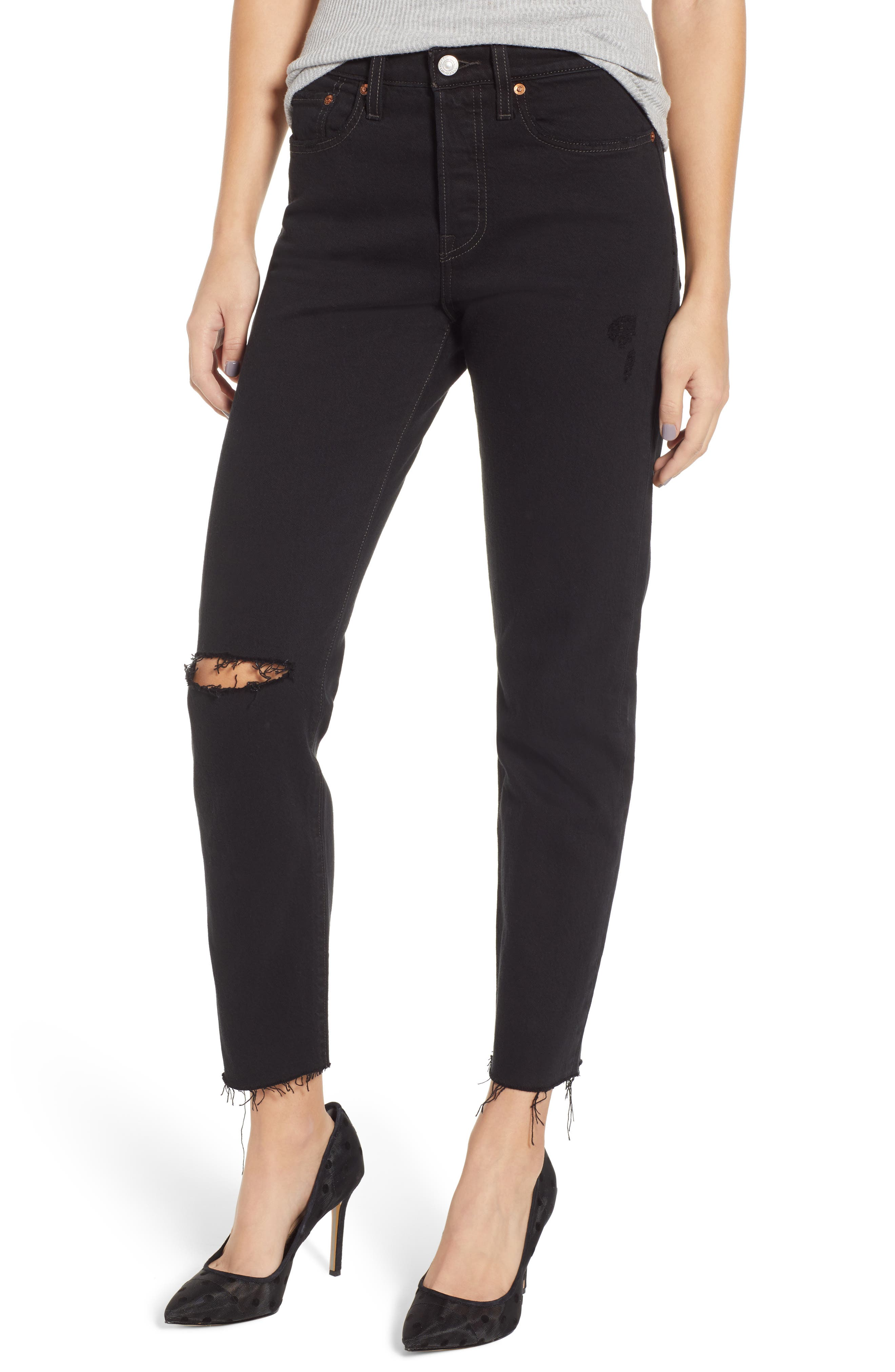 LEVI'S<SUP>®</SUP> Wedgie Icon Fit High Waist Ripped Skinny Jeans, Main, color, BLACK DESERT