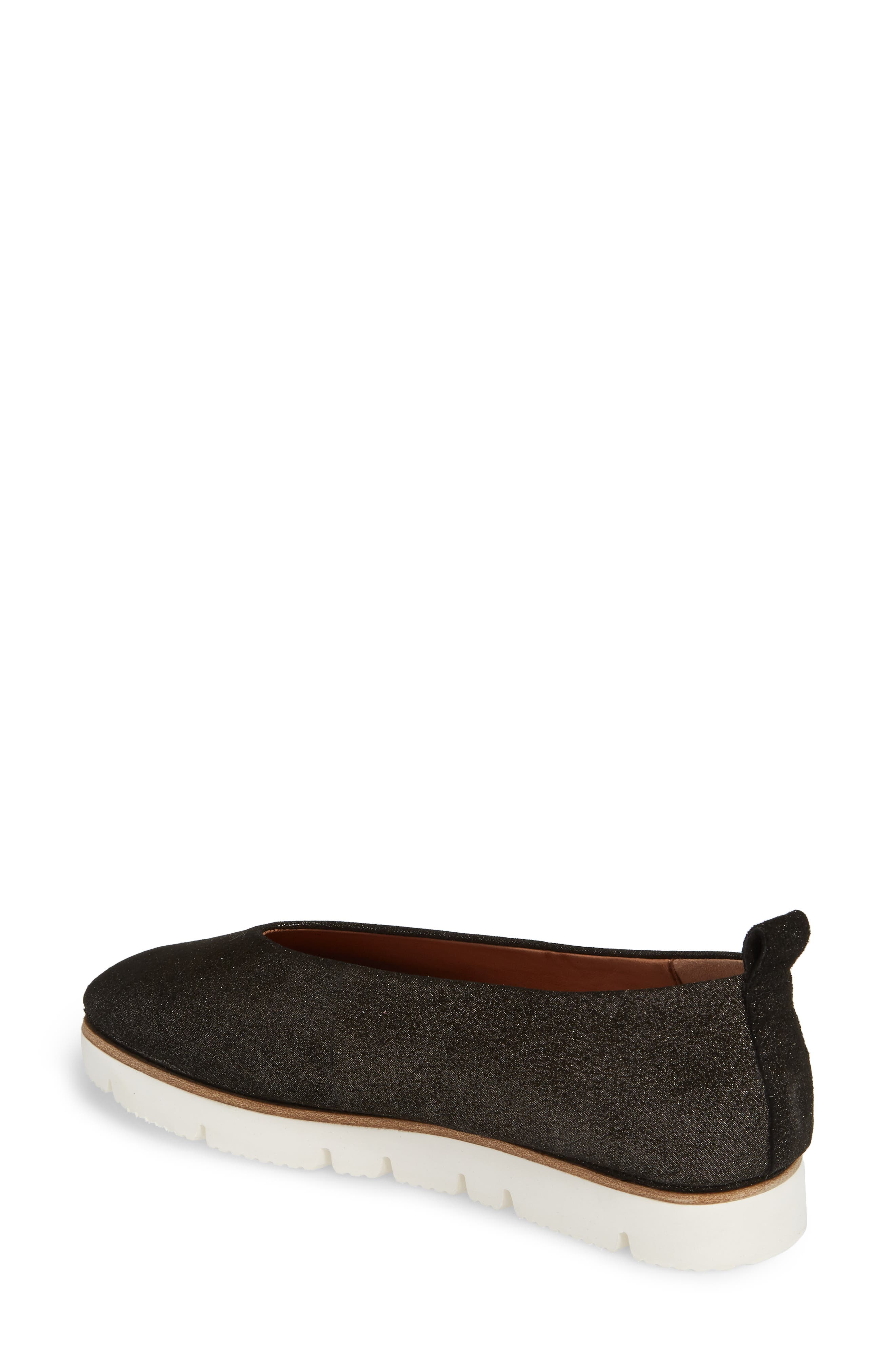 GENTLE SOULS BY KENNETH COLE, Demi Flat, Alternate thumbnail 2, color, BLACK EMBOSSED LEATHER