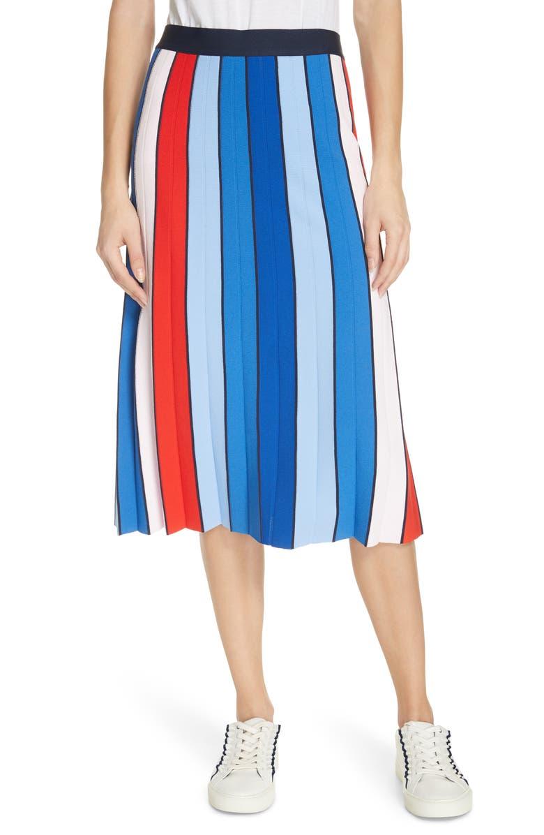 Tory Sport Stripe Tech Knit Skirt In Pace Stripe Ace Blue