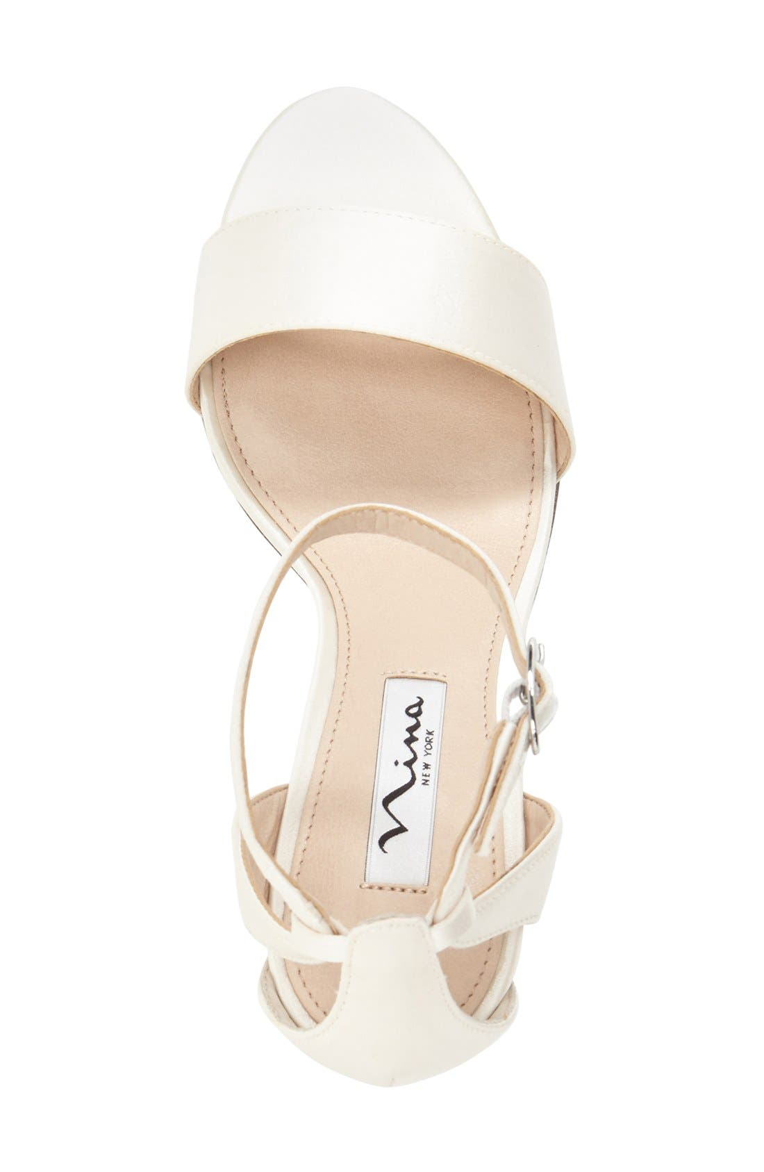 NINA, 'Venetia' Ankle Strap Sandal, Alternate thumbnail 3, color, IVORY