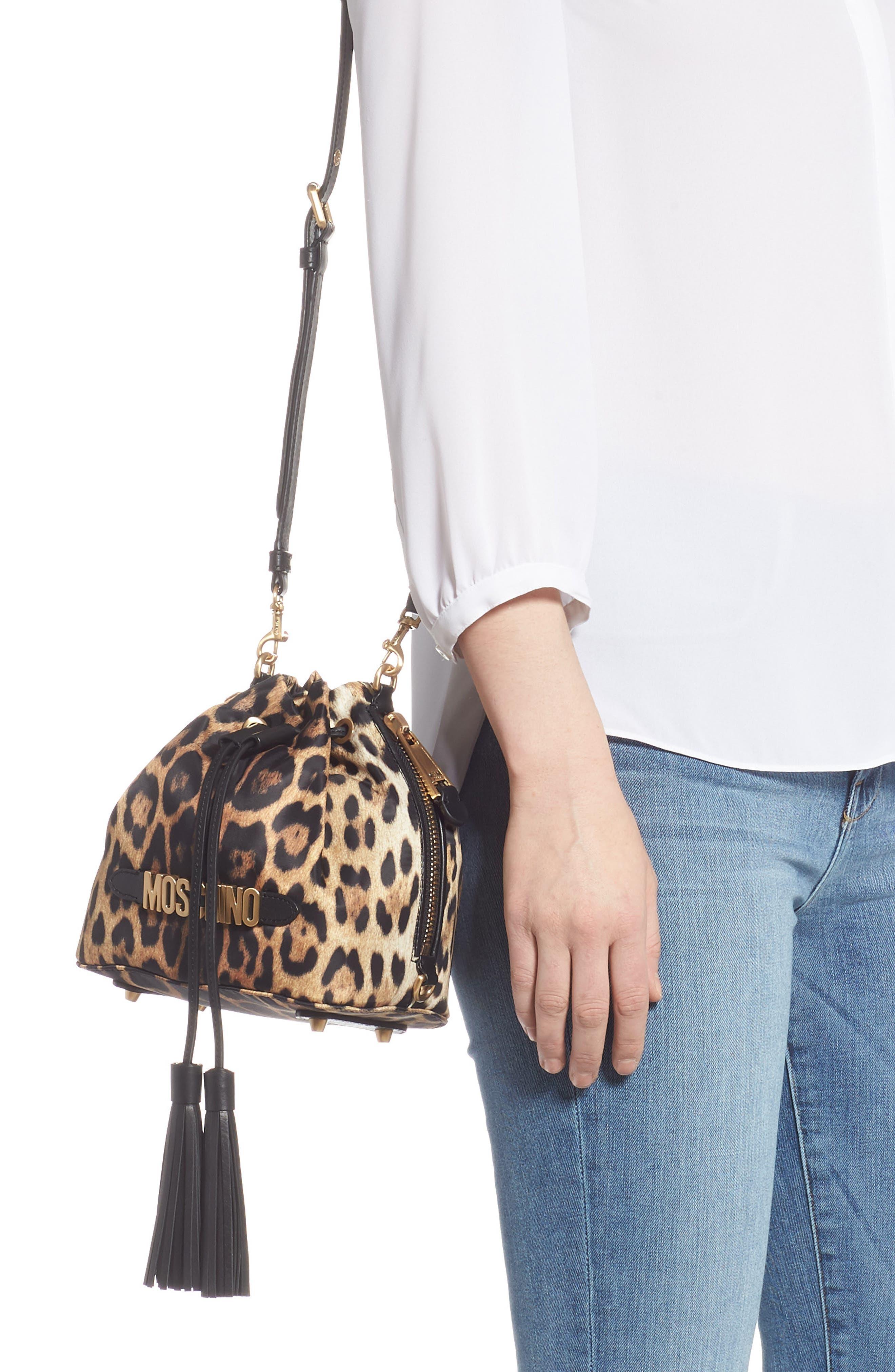 MOSCHINO, Leopard Print Nylon Convertible Bucket Bag, Alternate thumbnail 3, color, BLACK