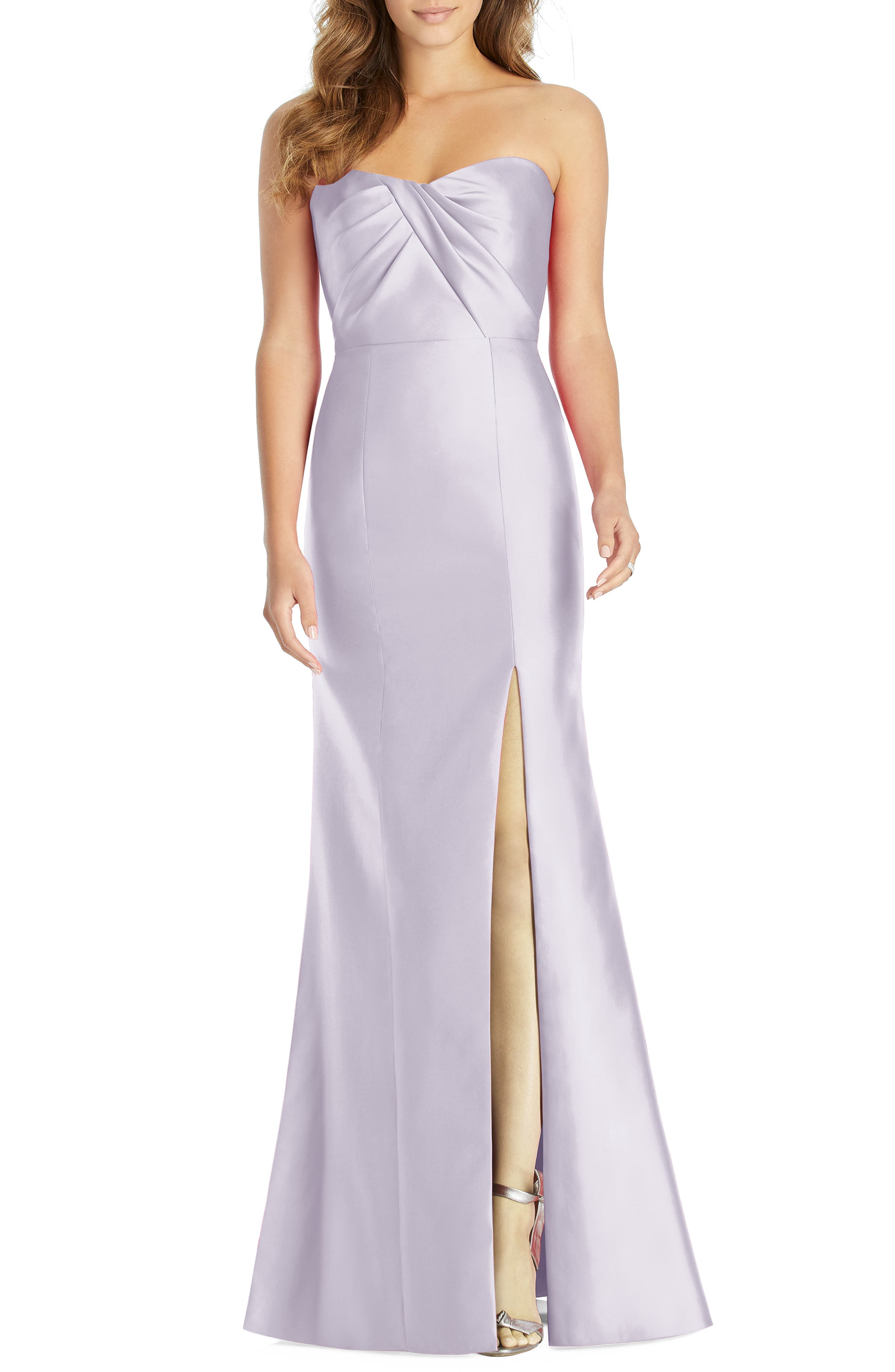 Alfred Sung Sateen Twill Strapless Sweetheart Neckline Gown, Purple