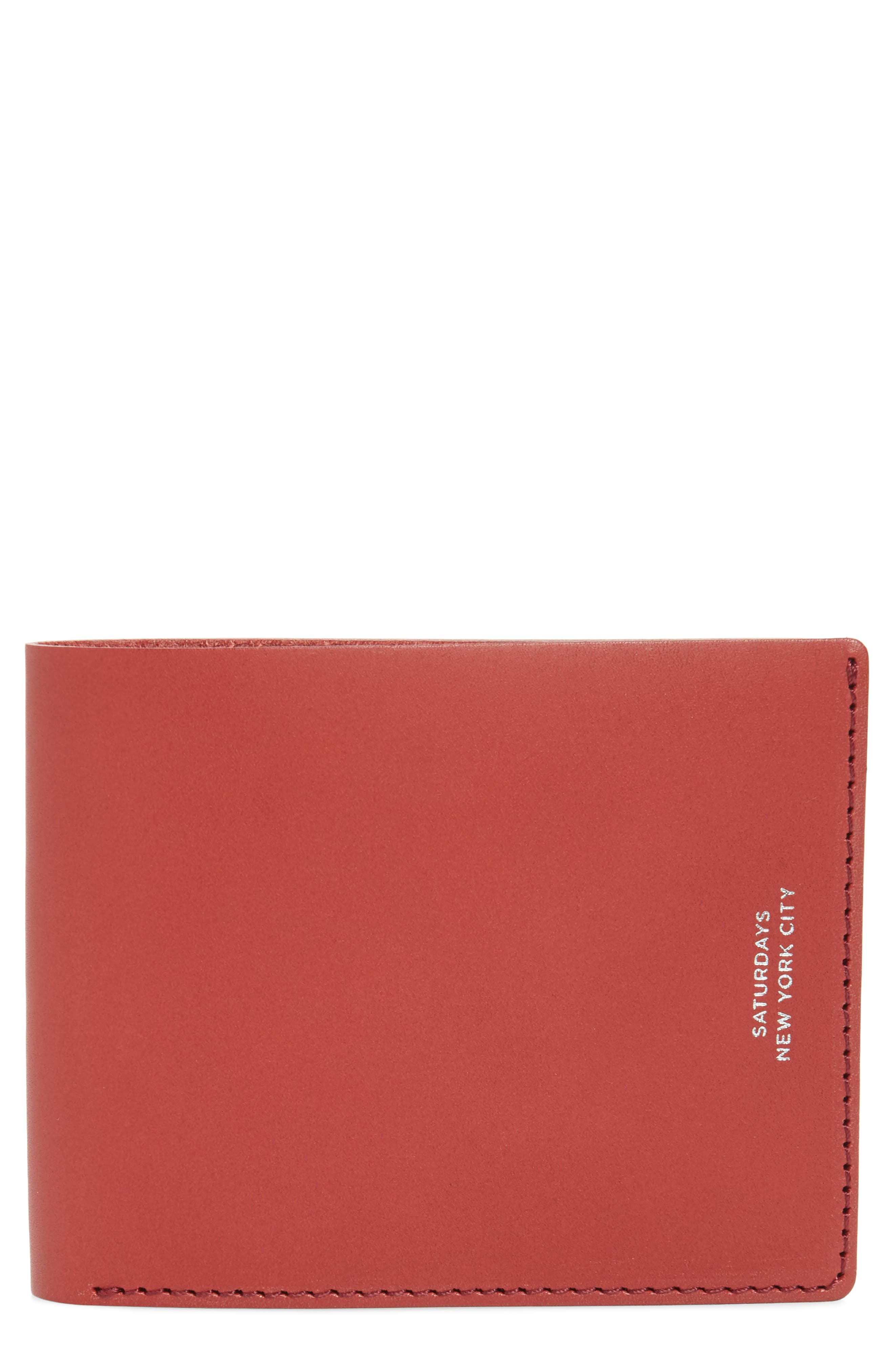SATURDAYS NYC, Bifold Leather Wallet, Main thumbnail 1, color, TRUE RED