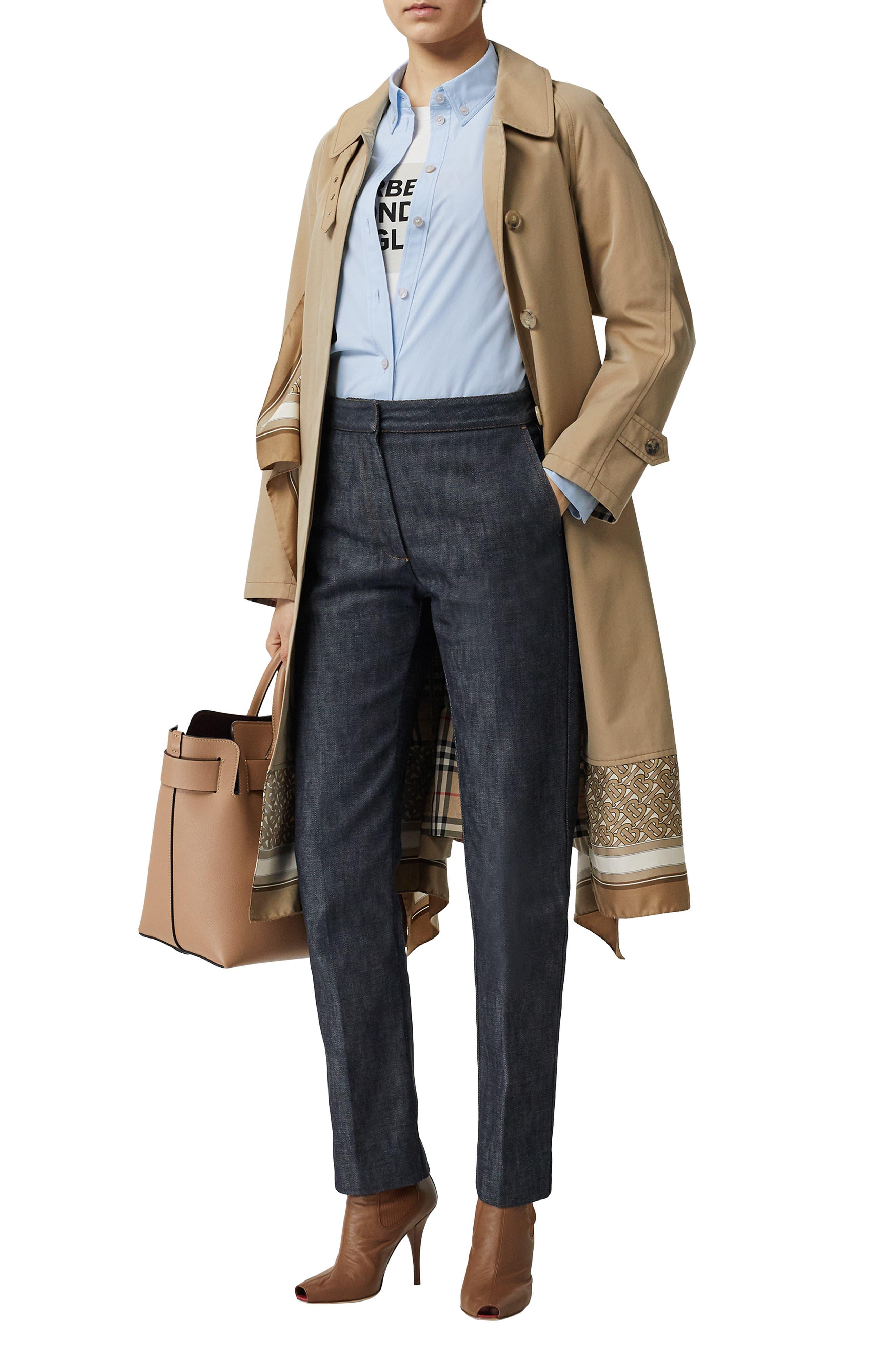 BURBERRY, Monogram Regular Fit Cotton Shirt, Alternate thumbnail 6, color, PALE BLUE