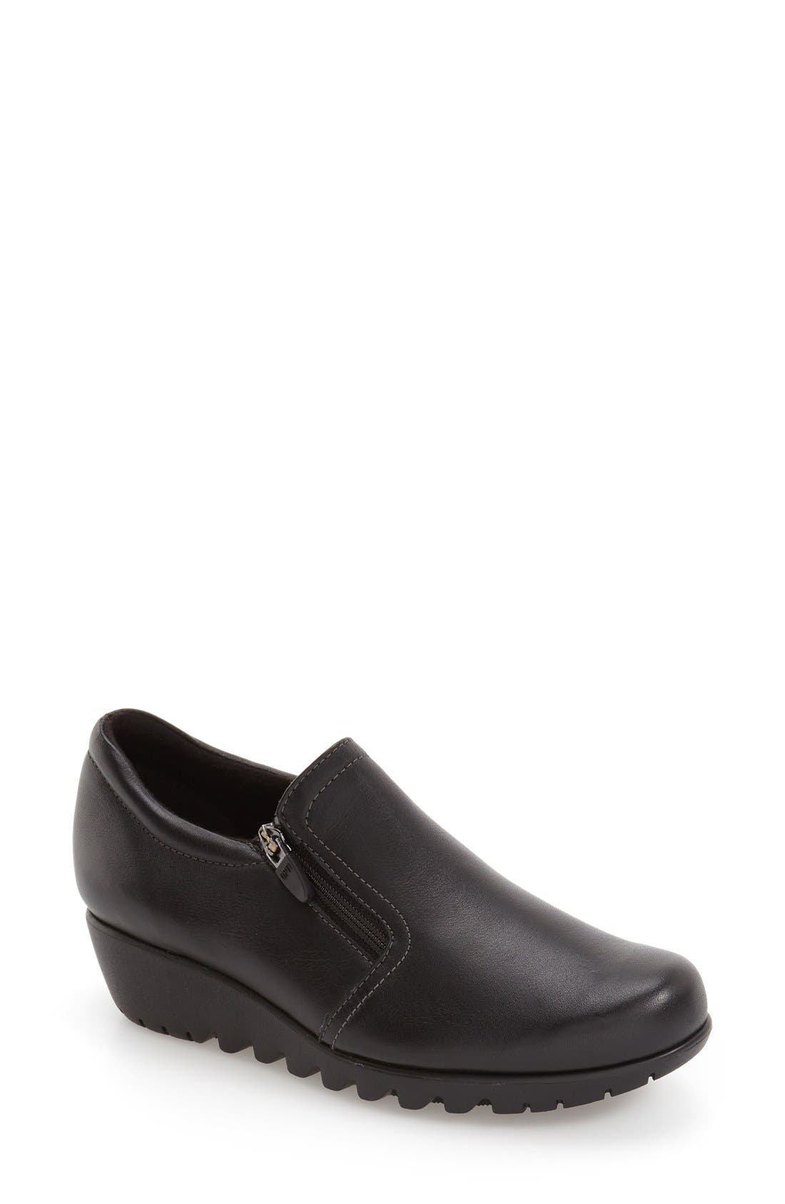 MUNRO Napoli Zip Bootie, Main, color, BLACK LEATHER