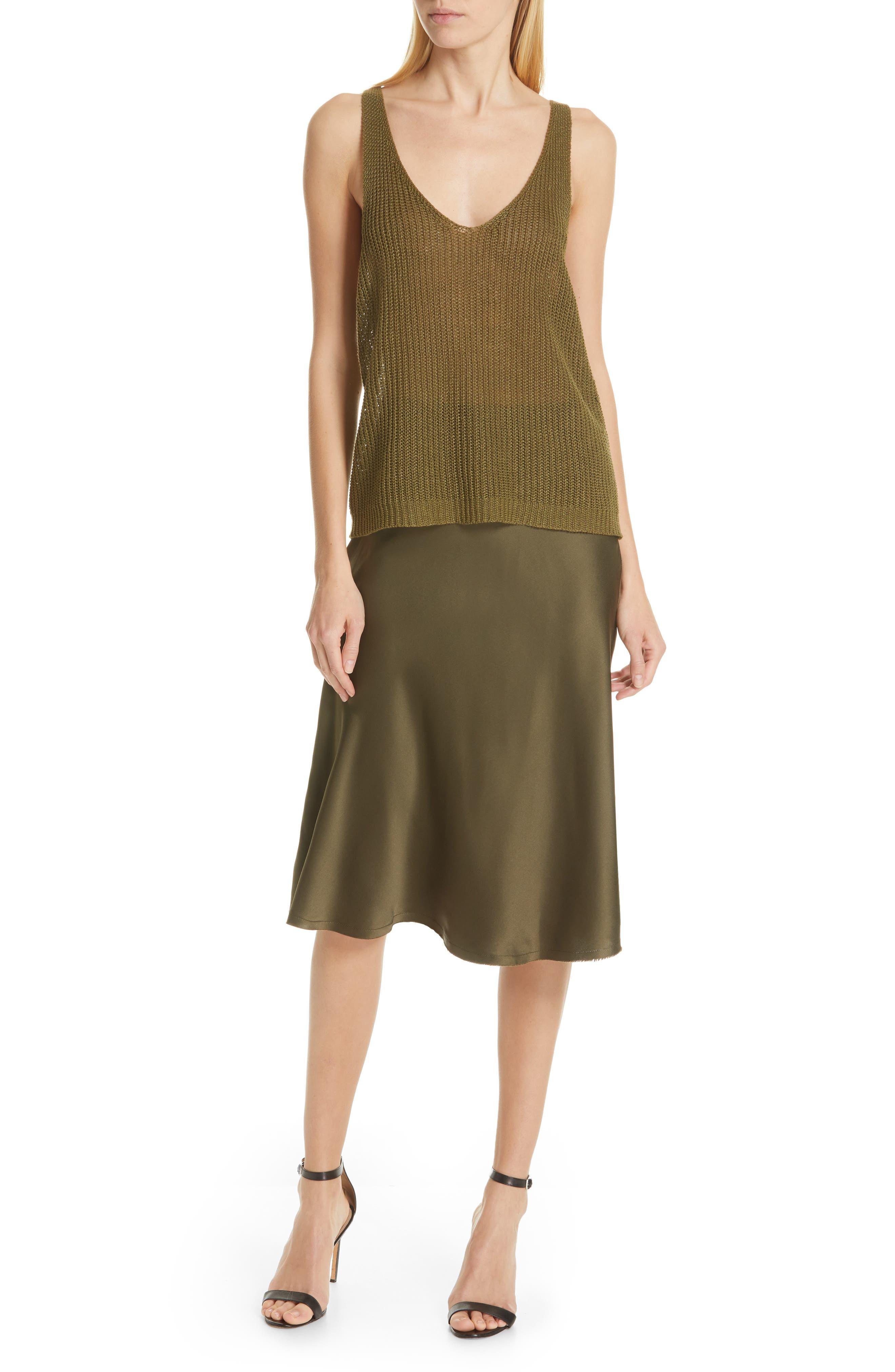 NILI LOTAN, Lane Silk Skirt, Alternate thumbnail 7, color, ARMY GREEN