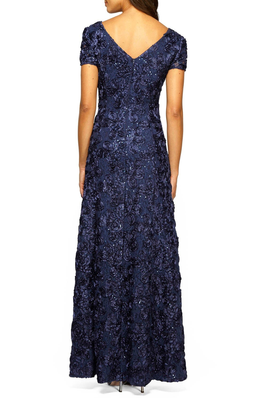 ALEX EVENINGS, Embellished Lace Gown, Alternate thumbnail 4, color, NAVY