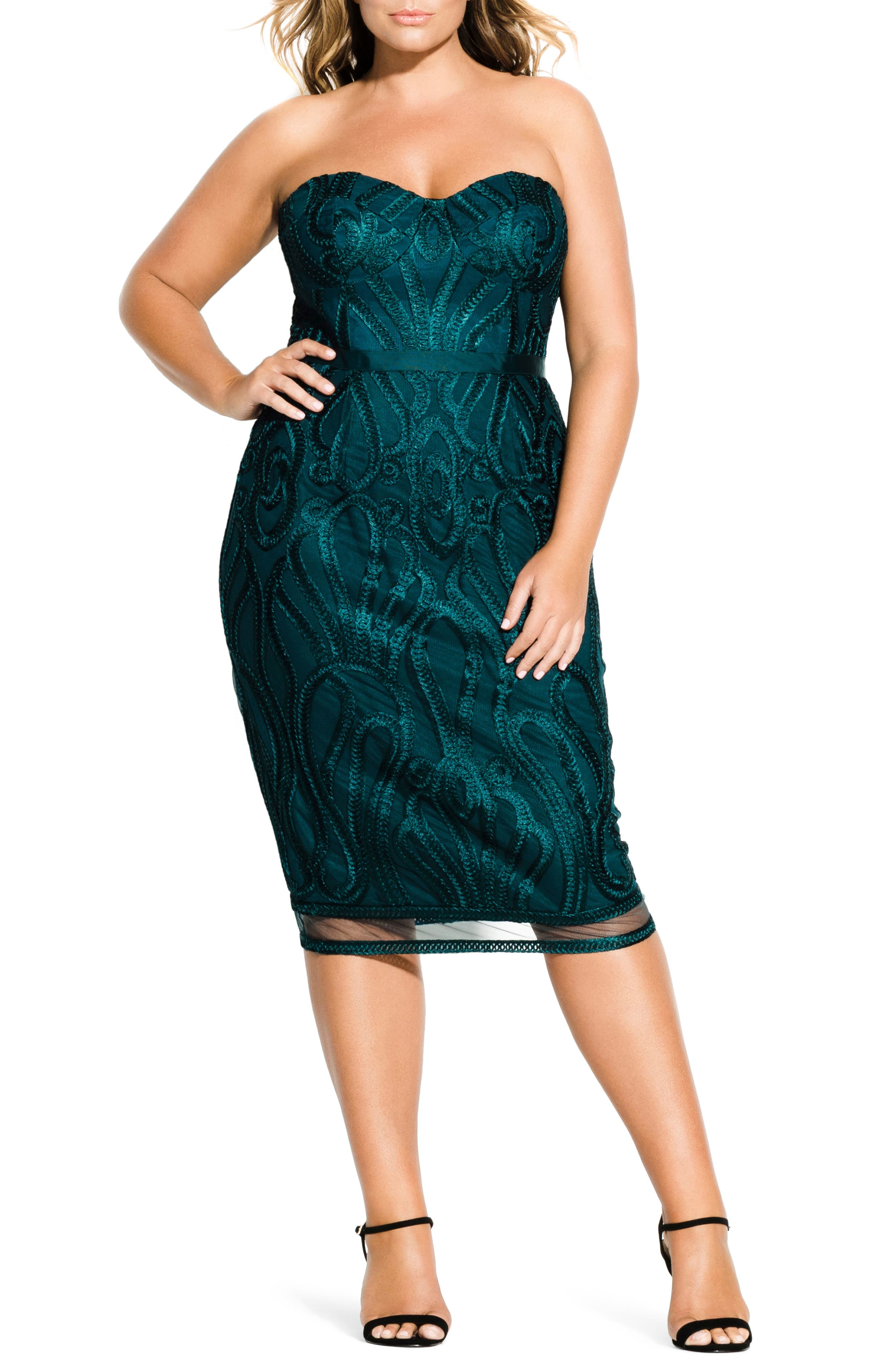 CITY CHIC Antonia Strapless Sheath Dress, Main, color, EMERALD