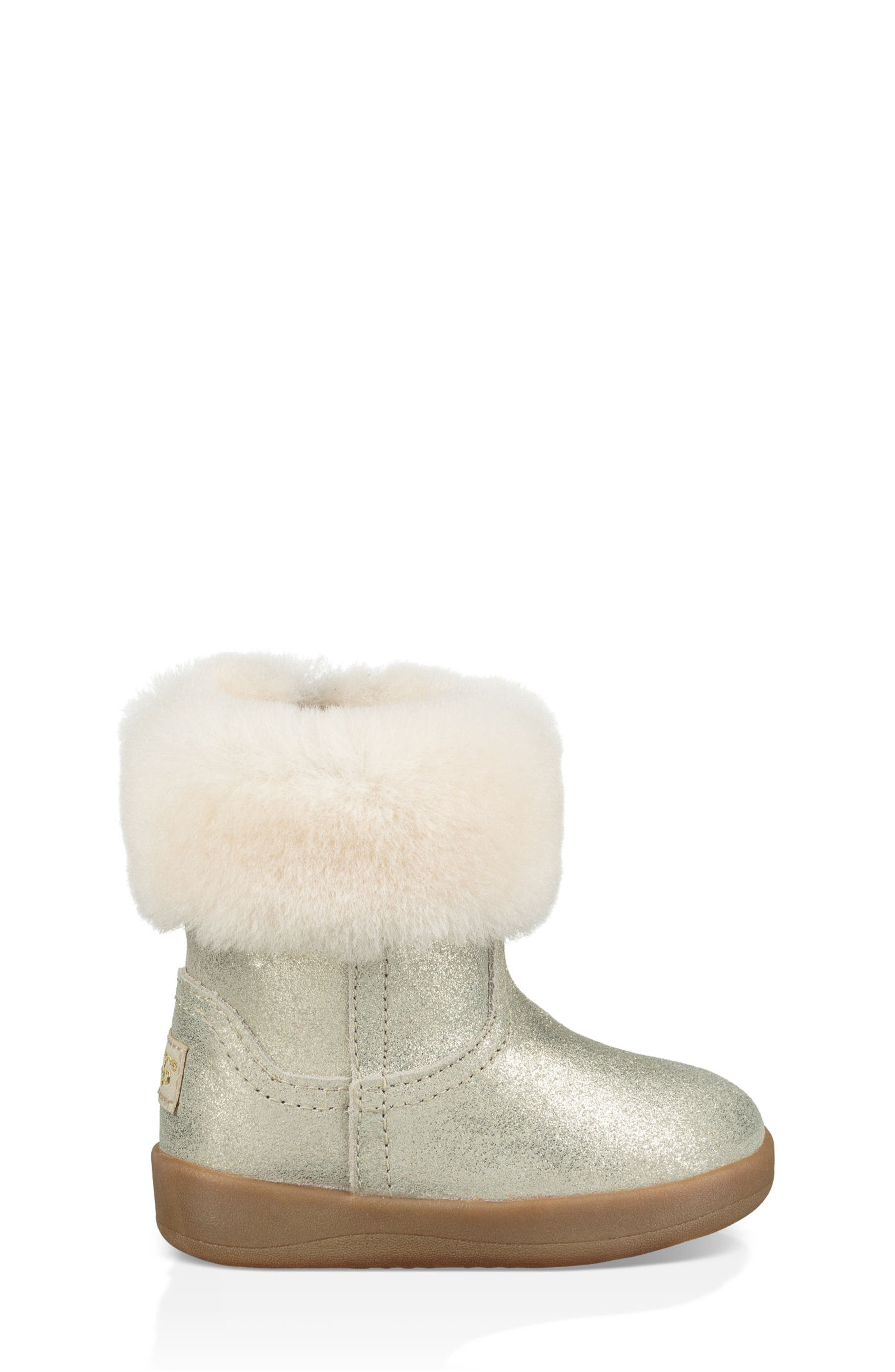 UGG<SUP>®</SUP>, Jorie II Metallic Genuine Shearling Boot, Alternate thumbnail 3, color, GOLD