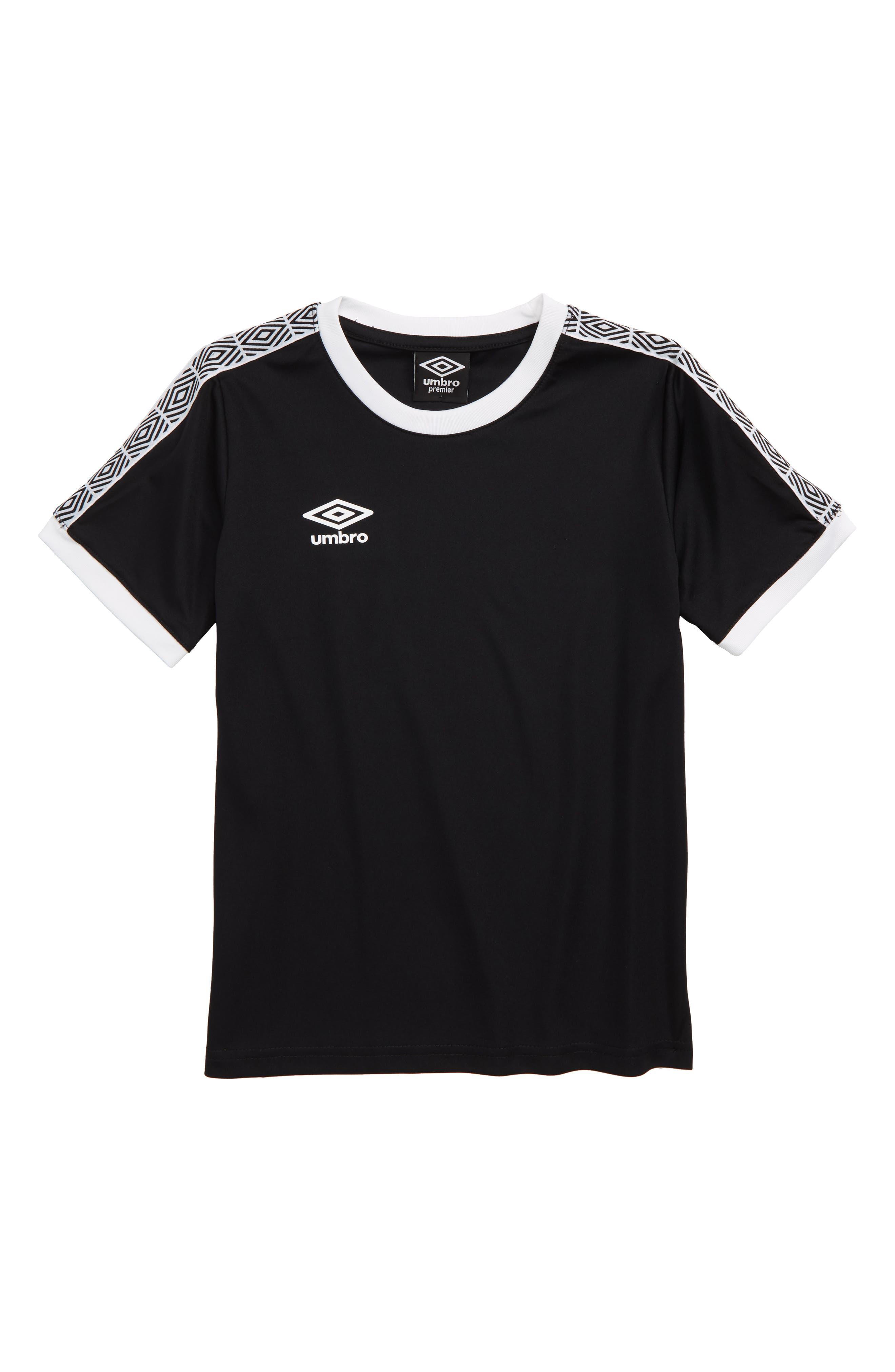 UMBRO, Diamond Logo Tape T-Shirt, Main thumbnail 1, color, BLACK/ WHITE