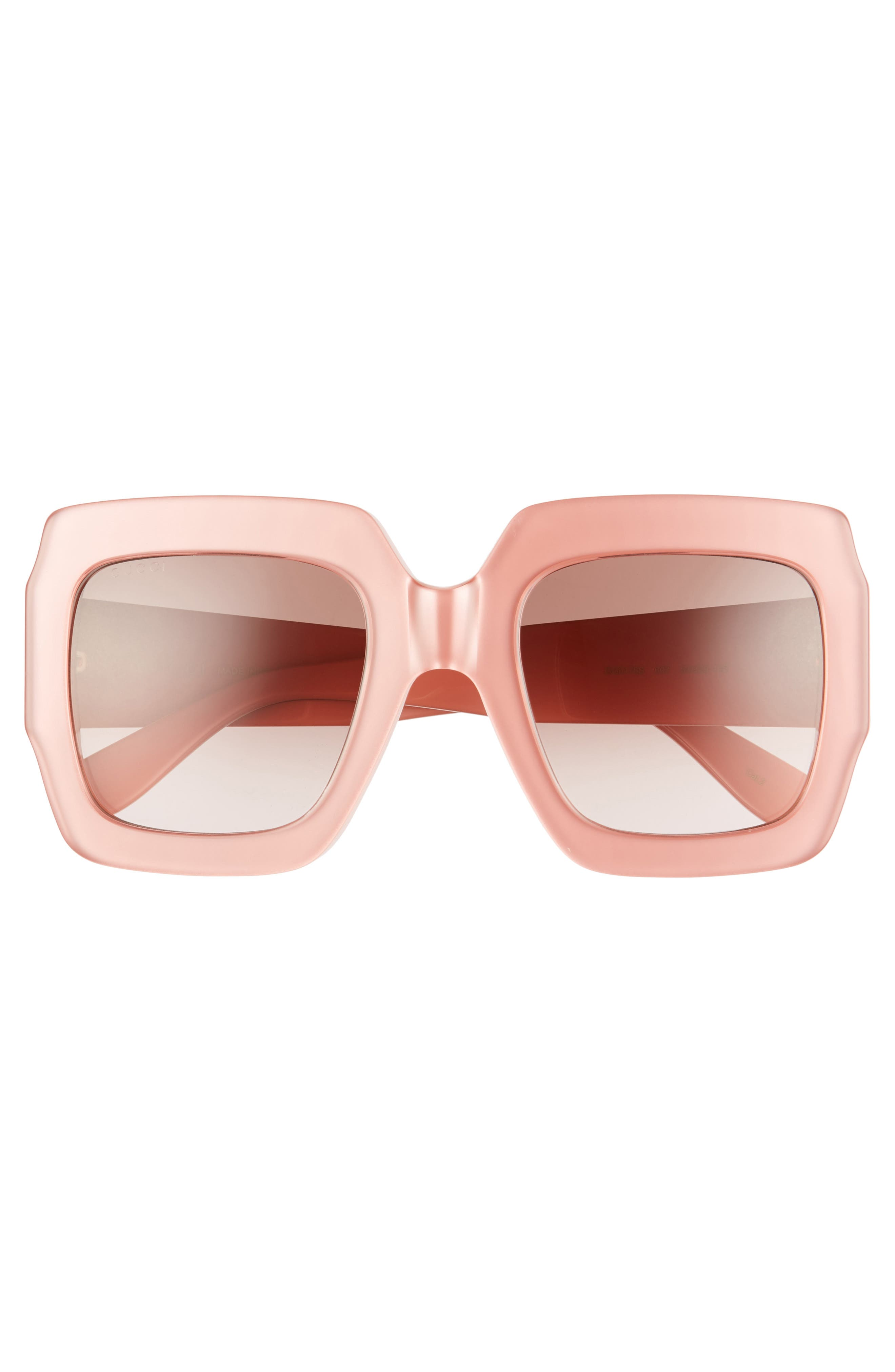 GUCCI, 54mm Square Sunglasses, Alternate thumbnail 3, color, SHNY MULTLAY GLOSS ROSE/BRN