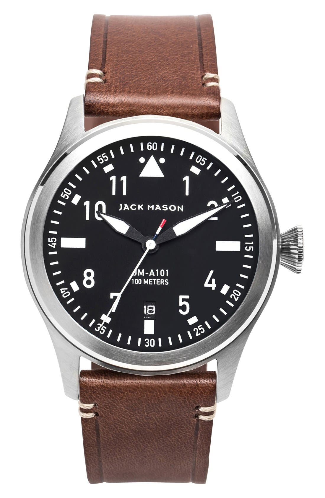JACK MASON, Aviation Leather Strap Watch, 42mm, Main thumbnail 1, color, BLACK/ SILVER/ BROWN