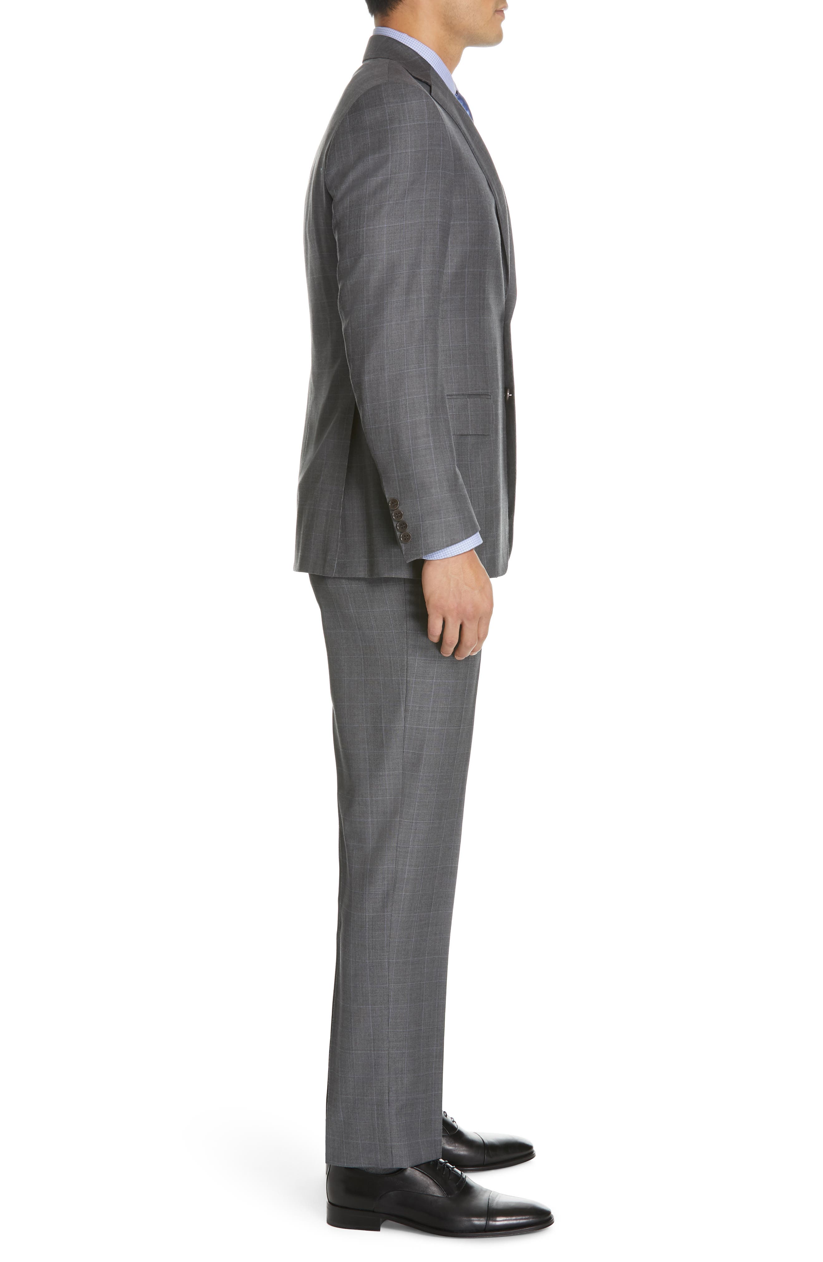 CANALI, Sienna Classic Fit Plaid Wool Suit, Alternate thumbnail 3, color, GREY