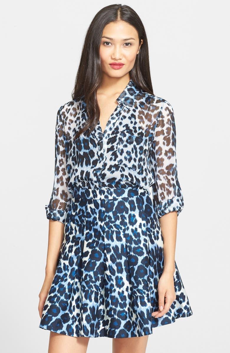 a9dbcf76901df5 Diane von Furstenberg  Lorelei Two  Leopard Print Shirt