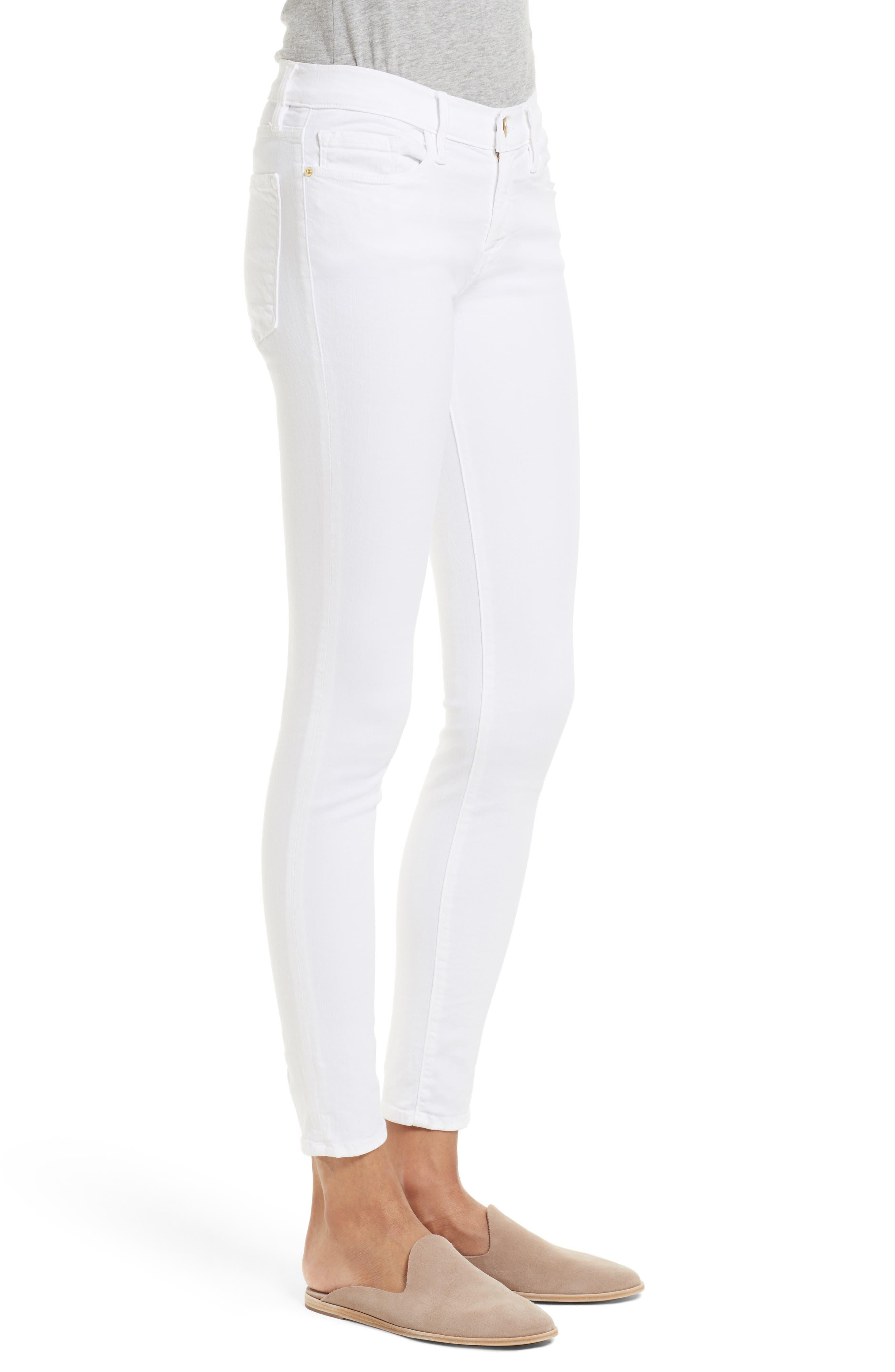 FRAME, Le Color Skinny Jeans, Alternate thumbnail 5, color, BLANC