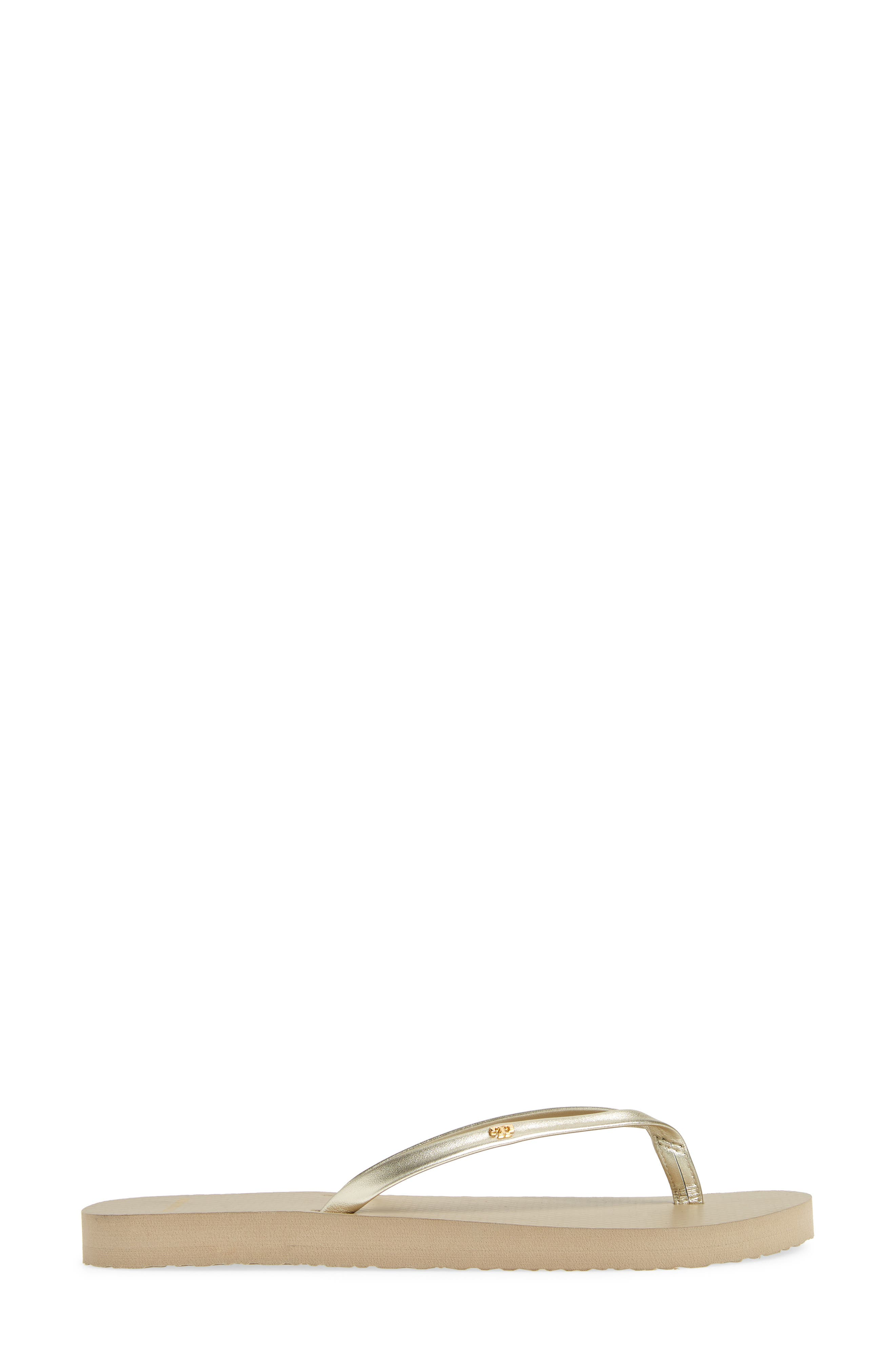 TORY BURCH, Logo Metallic Flip Flop, Alternate thumbnail 3, color, SPARK GOLD/ LIGHT TAUPE