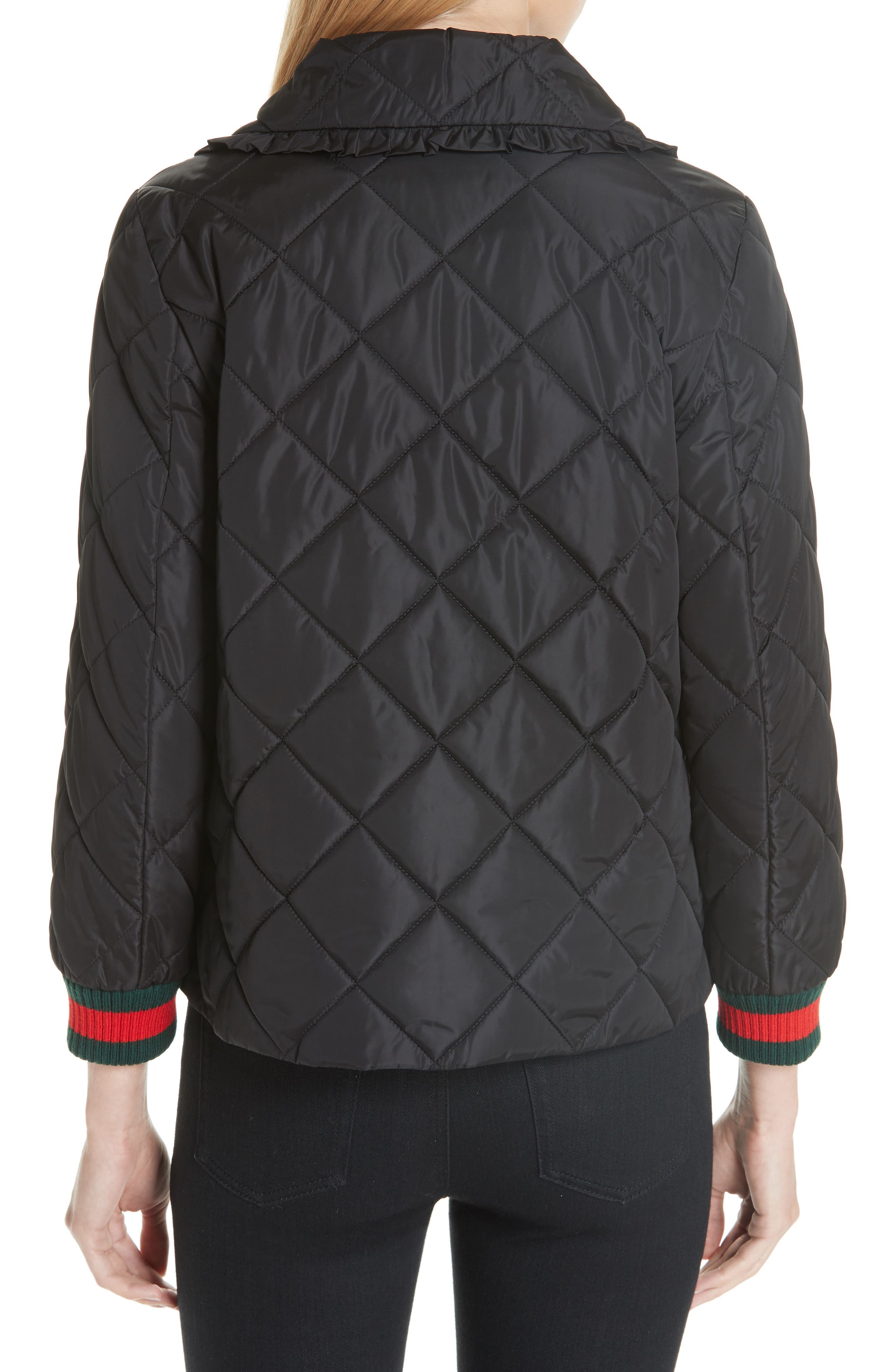 GUCCI, Ruffle Trim Quilted Caban, Alternate thumbnail 2, color, NERO