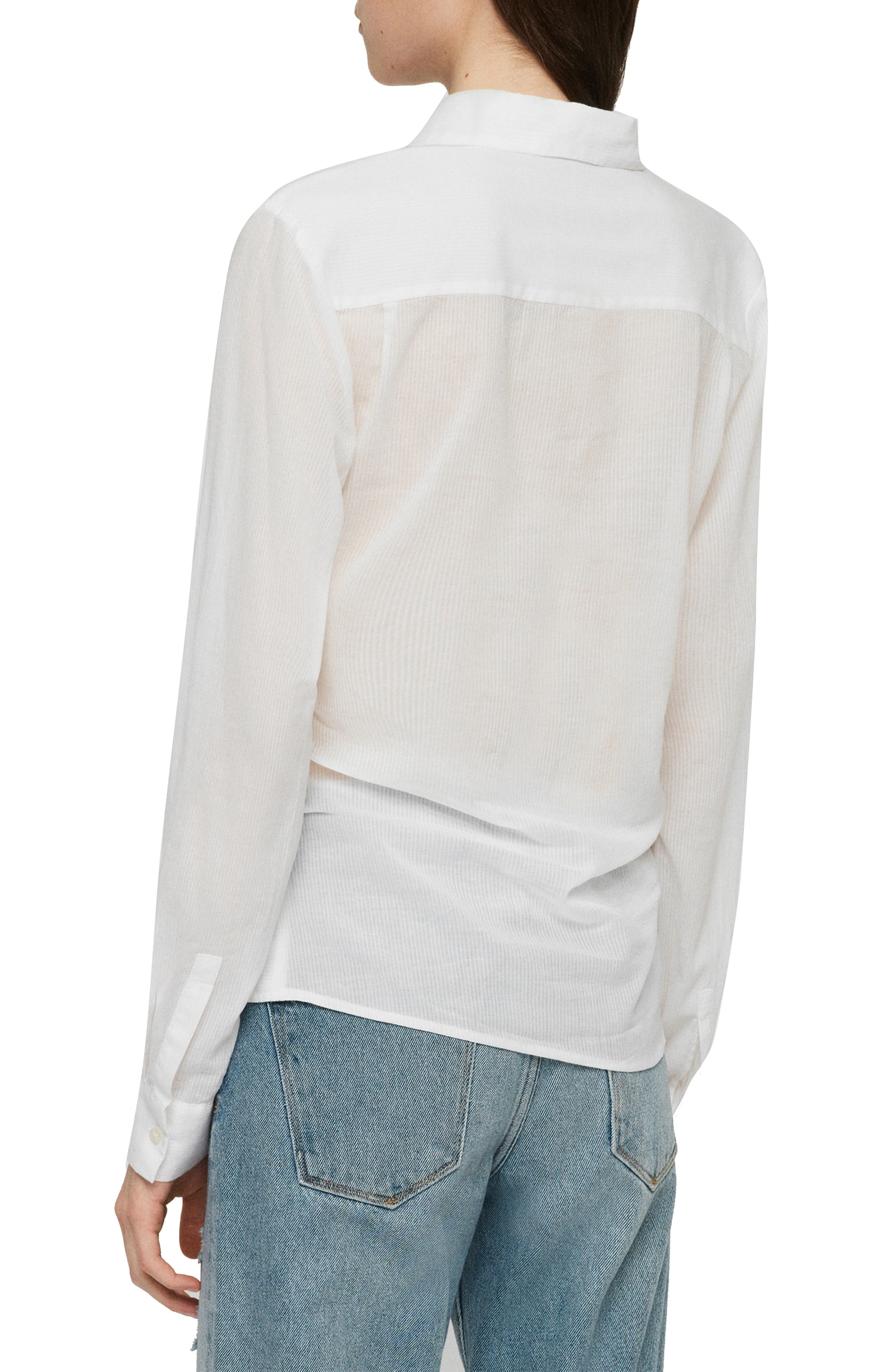 ALLSAINTS, Sirena Front Tie Shirt, Alternate thumbnail 2, color, CHALK WHITE