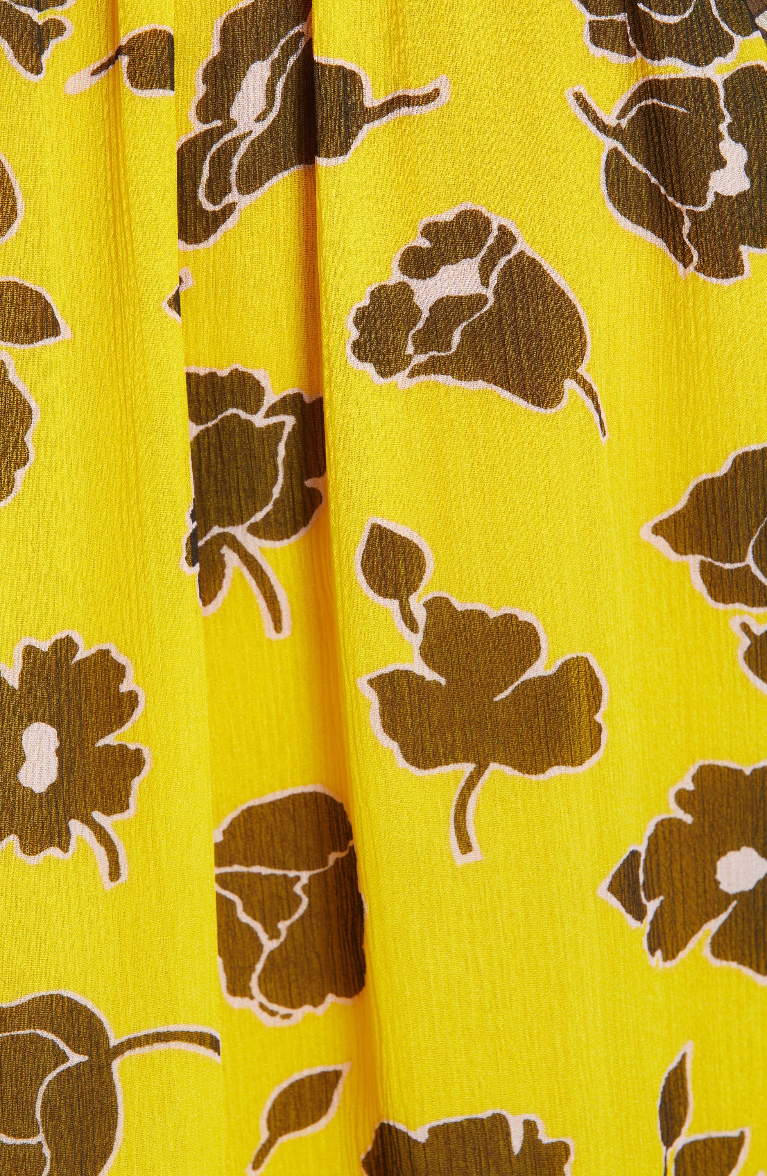 DVF, Annabel Silk Top, Alternate thumbnail 5, color, ROSE SHOWERS GOLDENROD MULTI